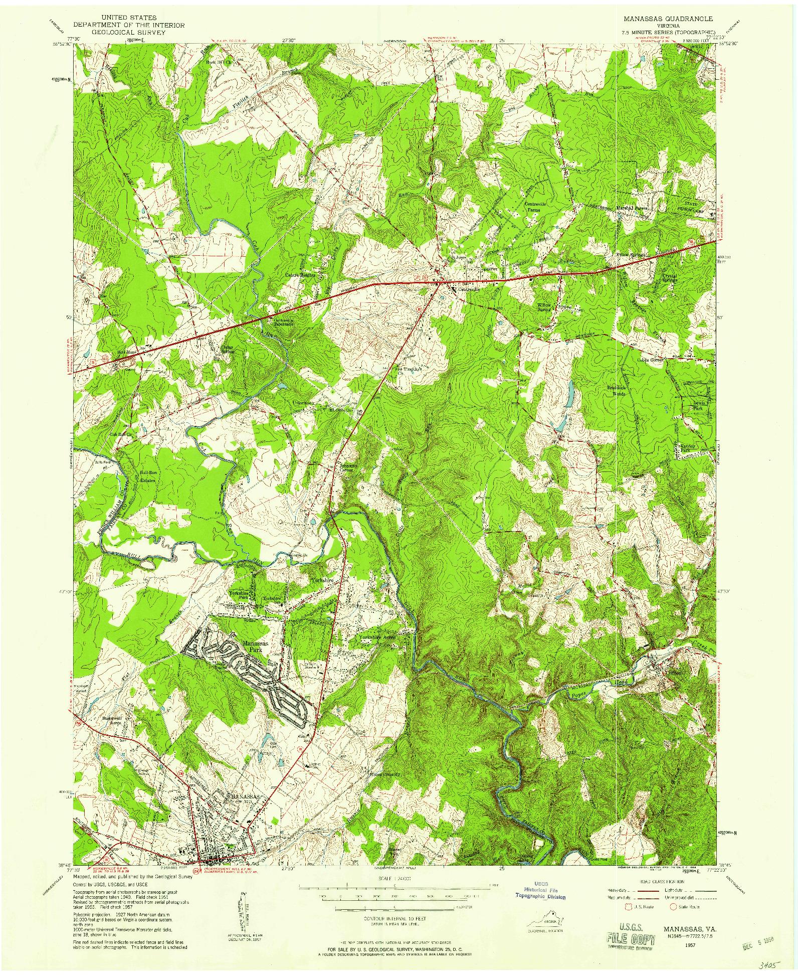 USGS 1:24000-SCALE QUADRANGLE FOR MANASSAS, VA 1957