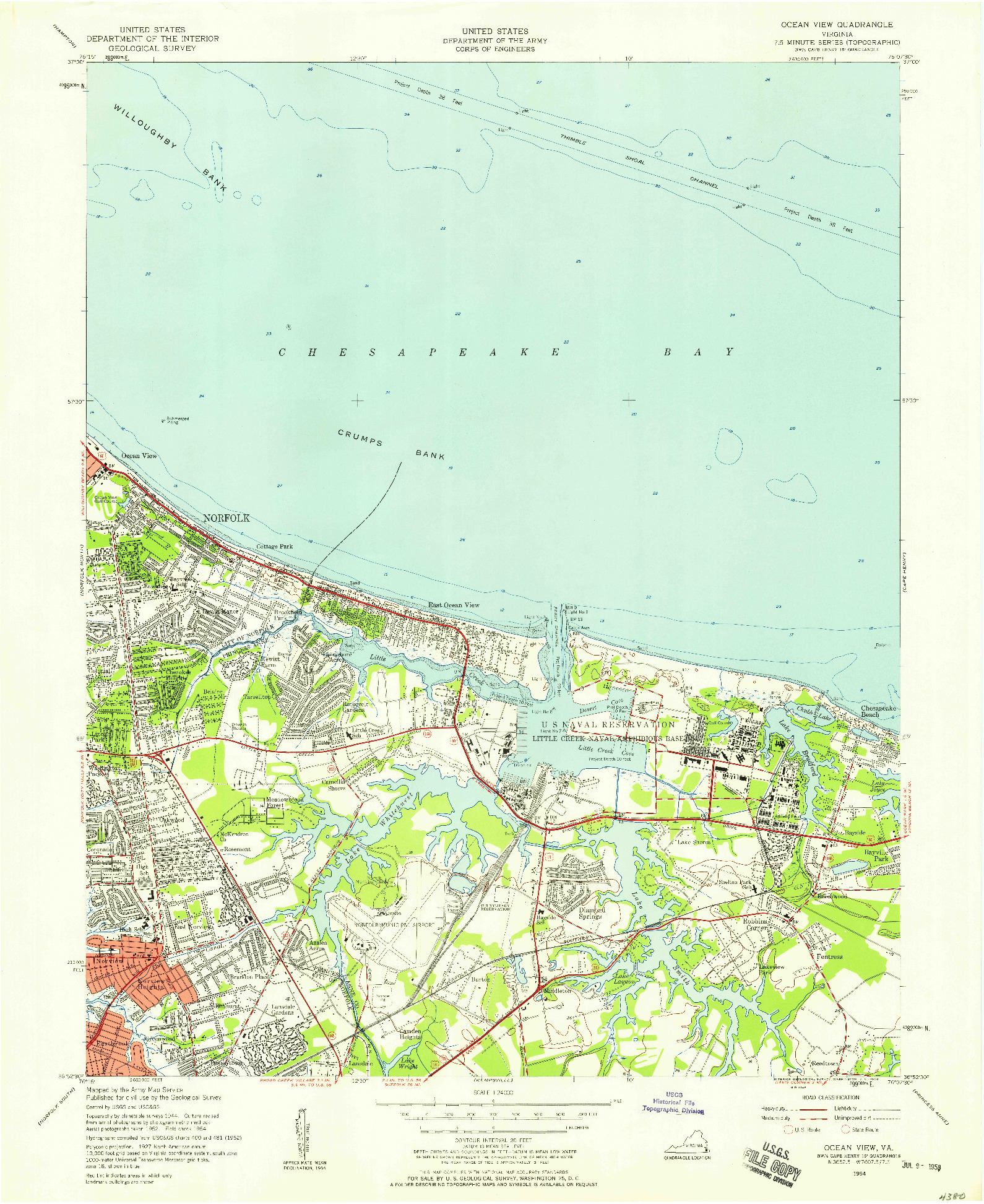 USGS 1:24000-SCALE QUADRANGLE FOR OCEAN VIEW, VA 1954