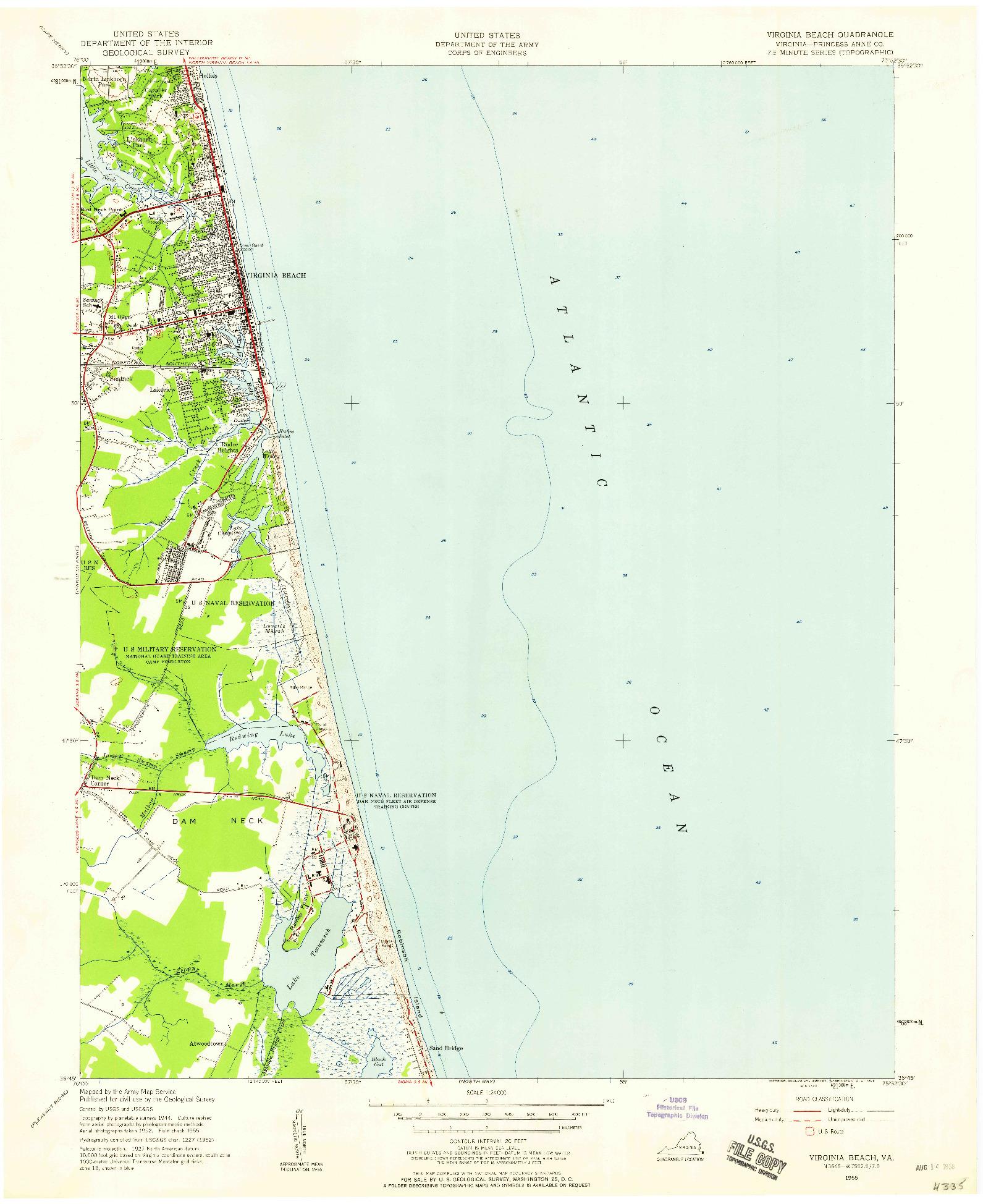USGS 1:24000-SCALE QUADRANGLE FOR VIRGINIA BEACH, VA 1955