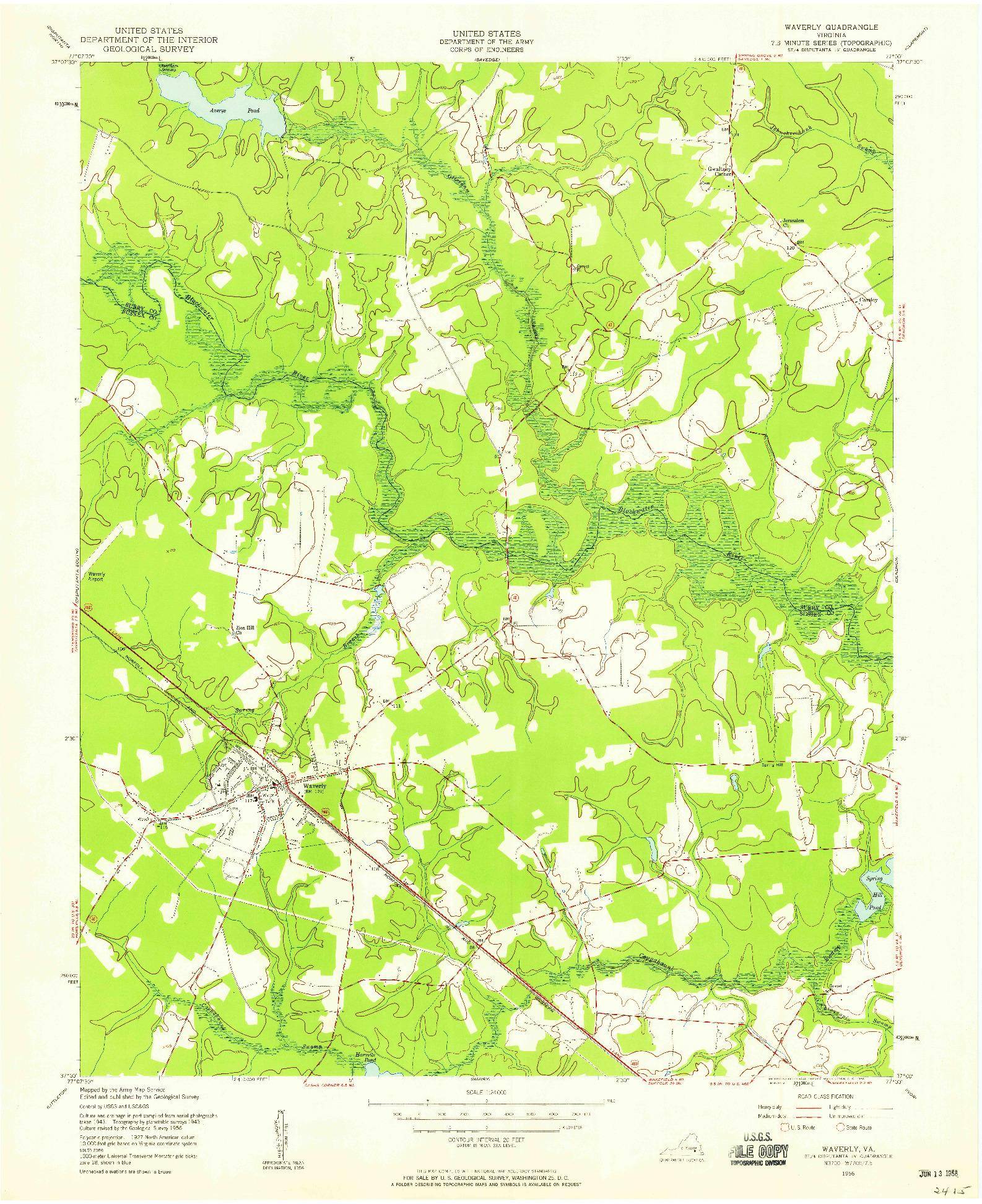 USGS 1:24000-SCALE QUADRANGLE FOR WAVERLY, VA 1956