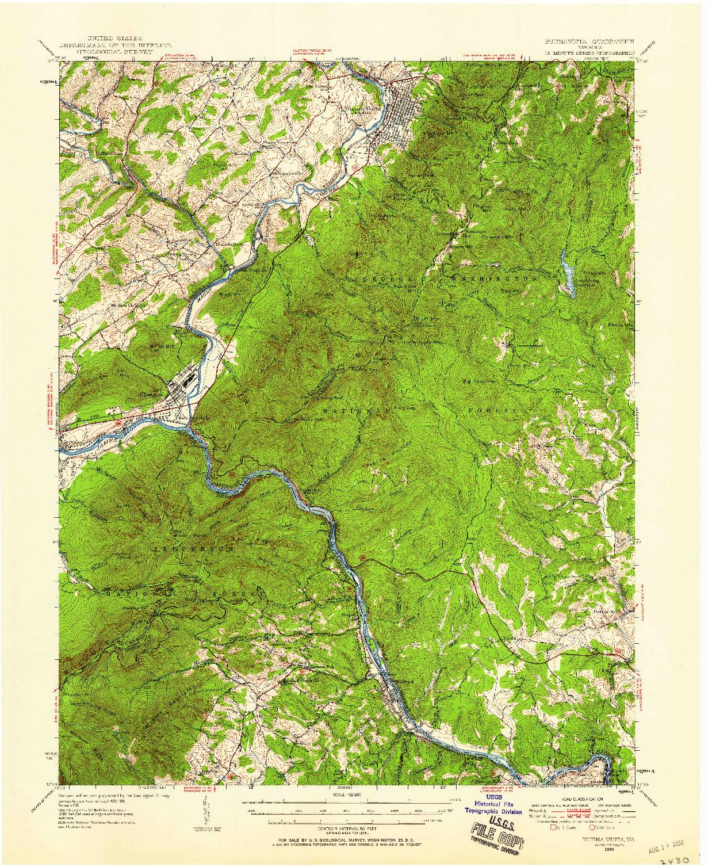 USGS 1:62500-SCALE QUADRANGLE FOR BUENA VISTA, VA 1950