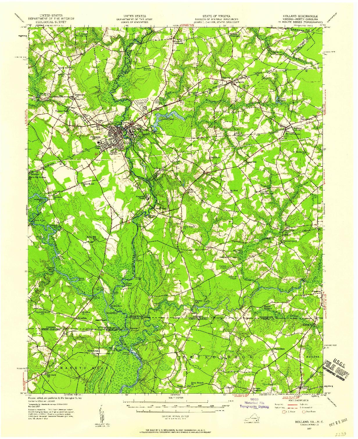 USGS 1:62500-SCALE QUADRANGLE FOR HOLLAND, VA 1957