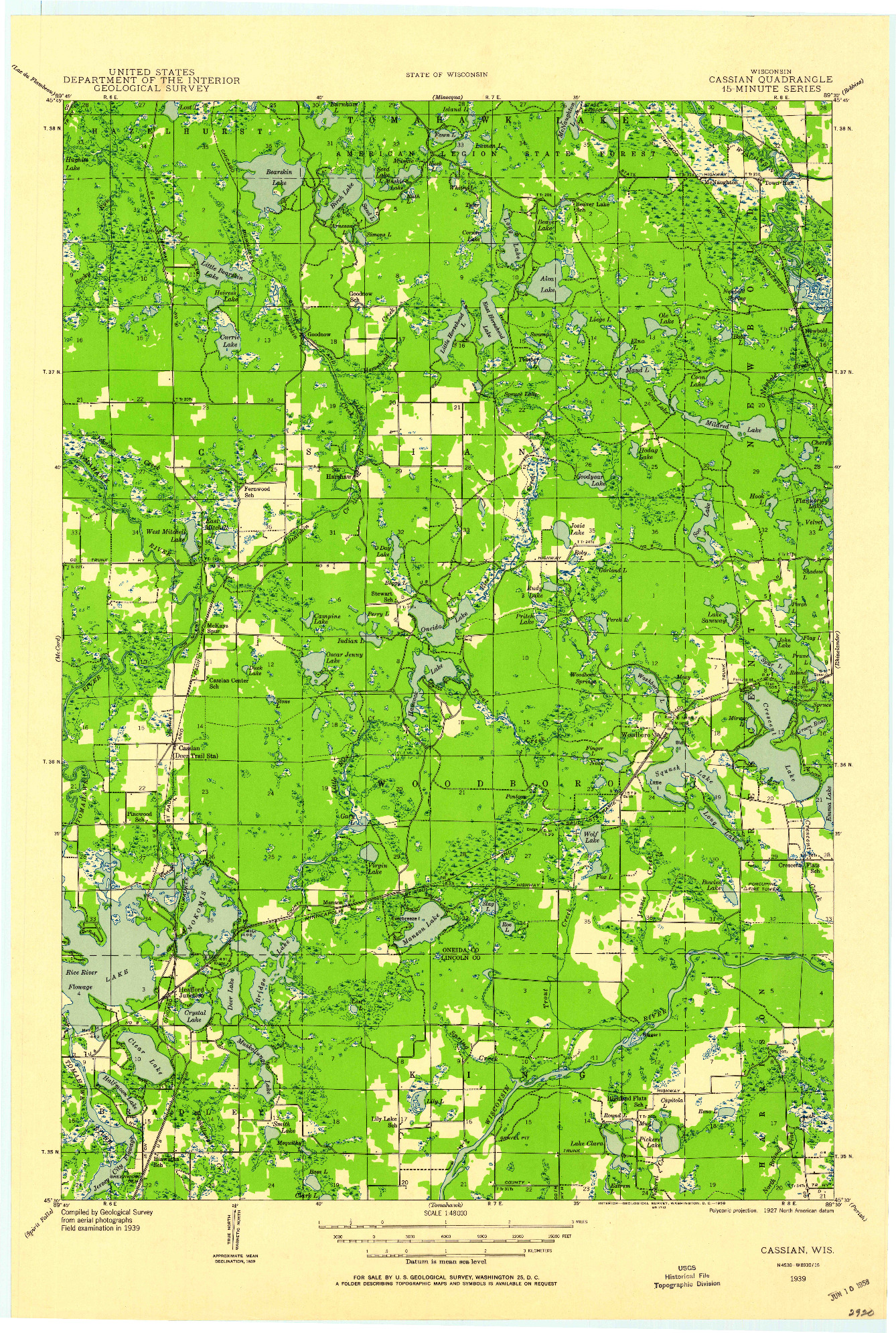 USGS 1:48000-SCALE QUADRANGLE FOR CASSIAN, WI 1939