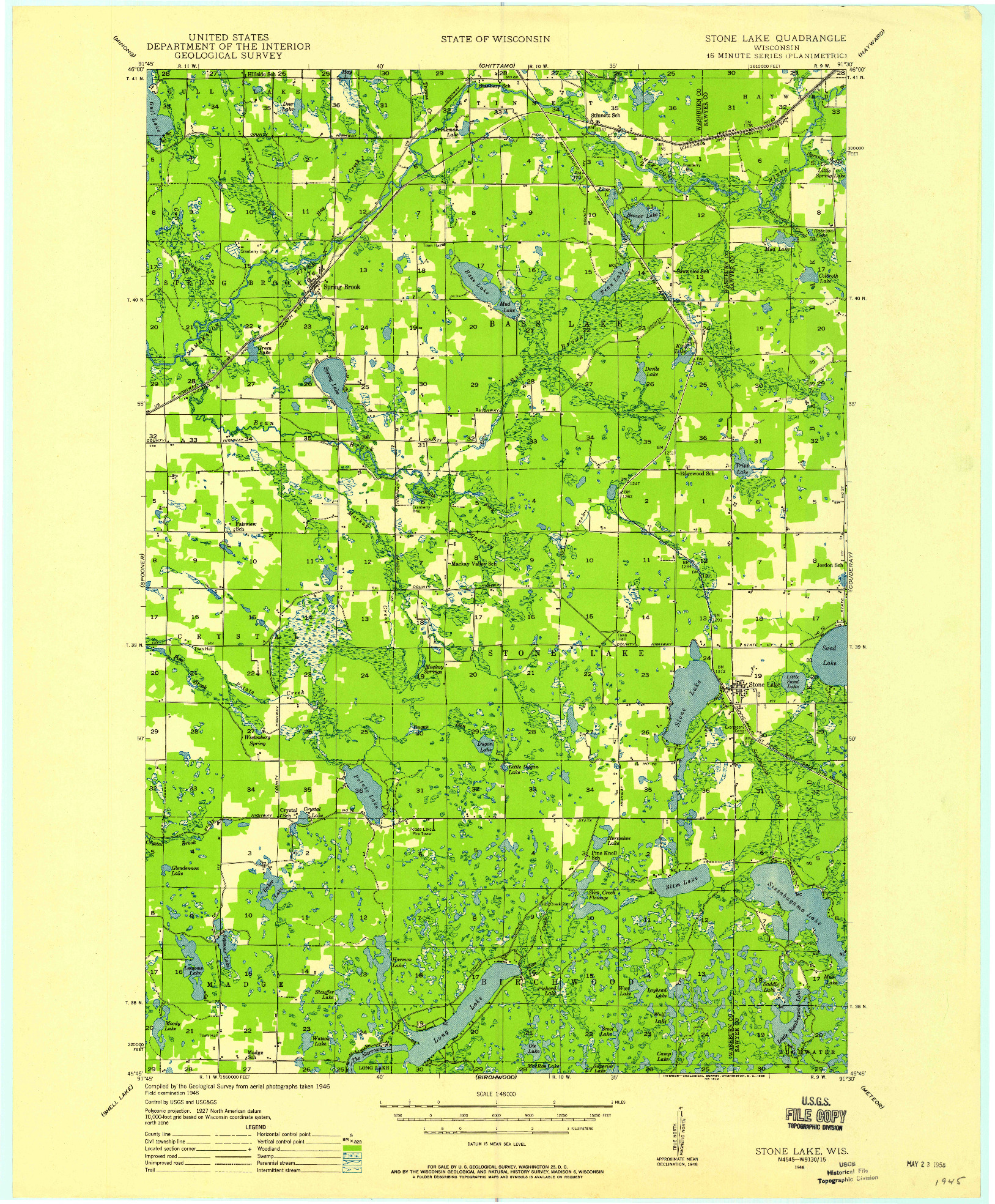 USGS 1:48000-SCALE QUADRANGLE FOR STONE LAKE, WI 1948