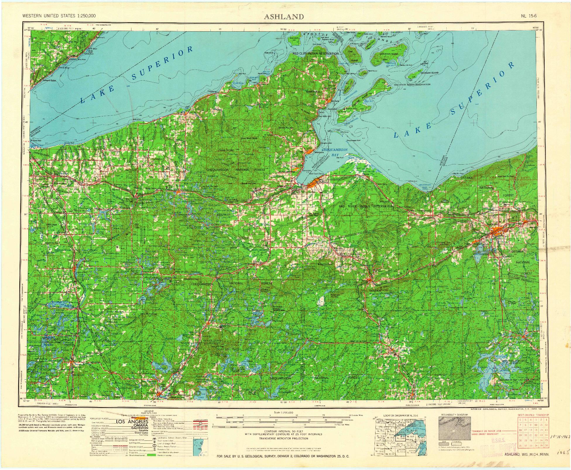 USGS 1:250000-SCALE QUADRANGLE FOR ASHLAND, WI 1958