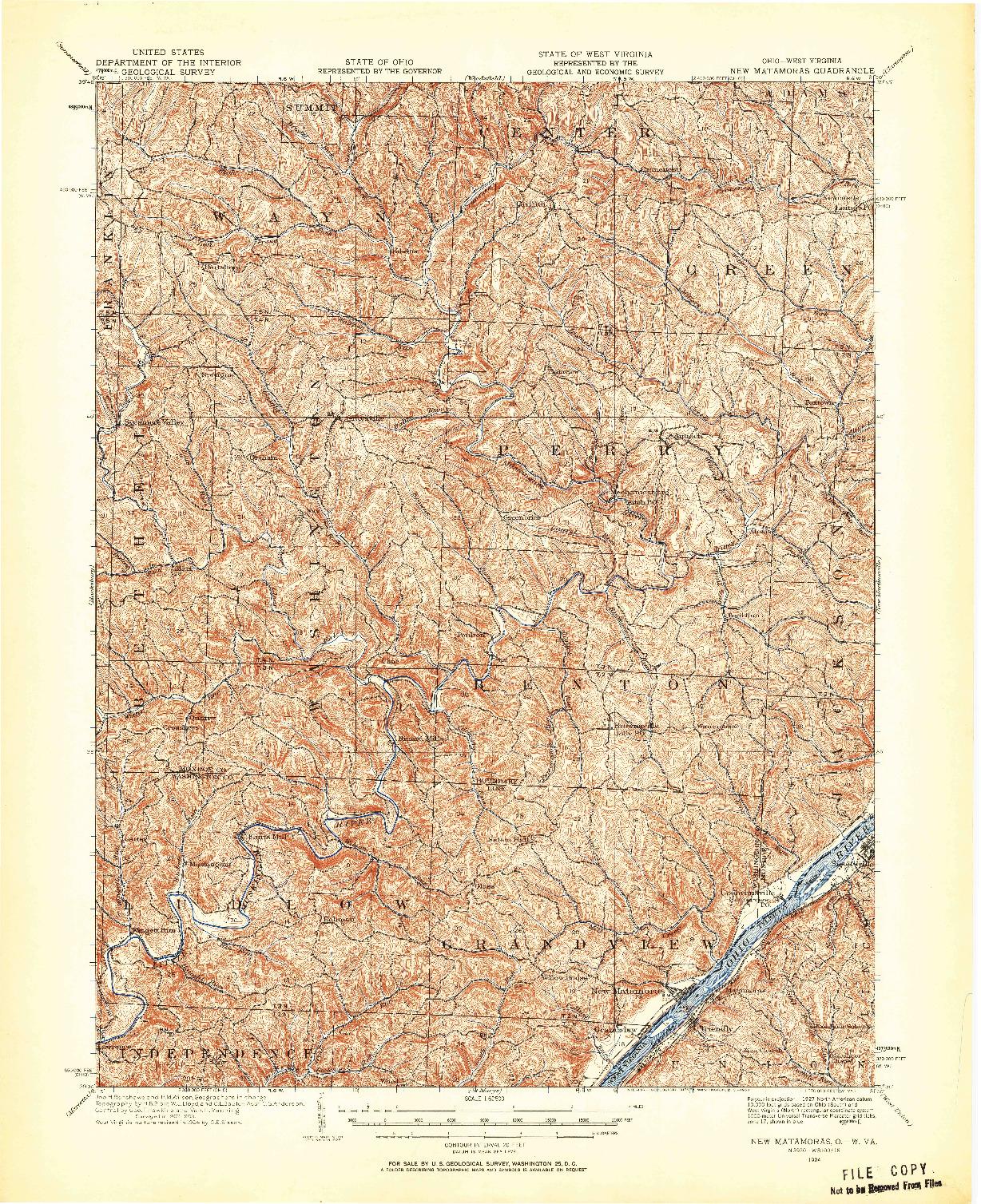 USGS 1:62500-SCALE QUADRANGLE FOR NEW MATAMORAS, OH 1924