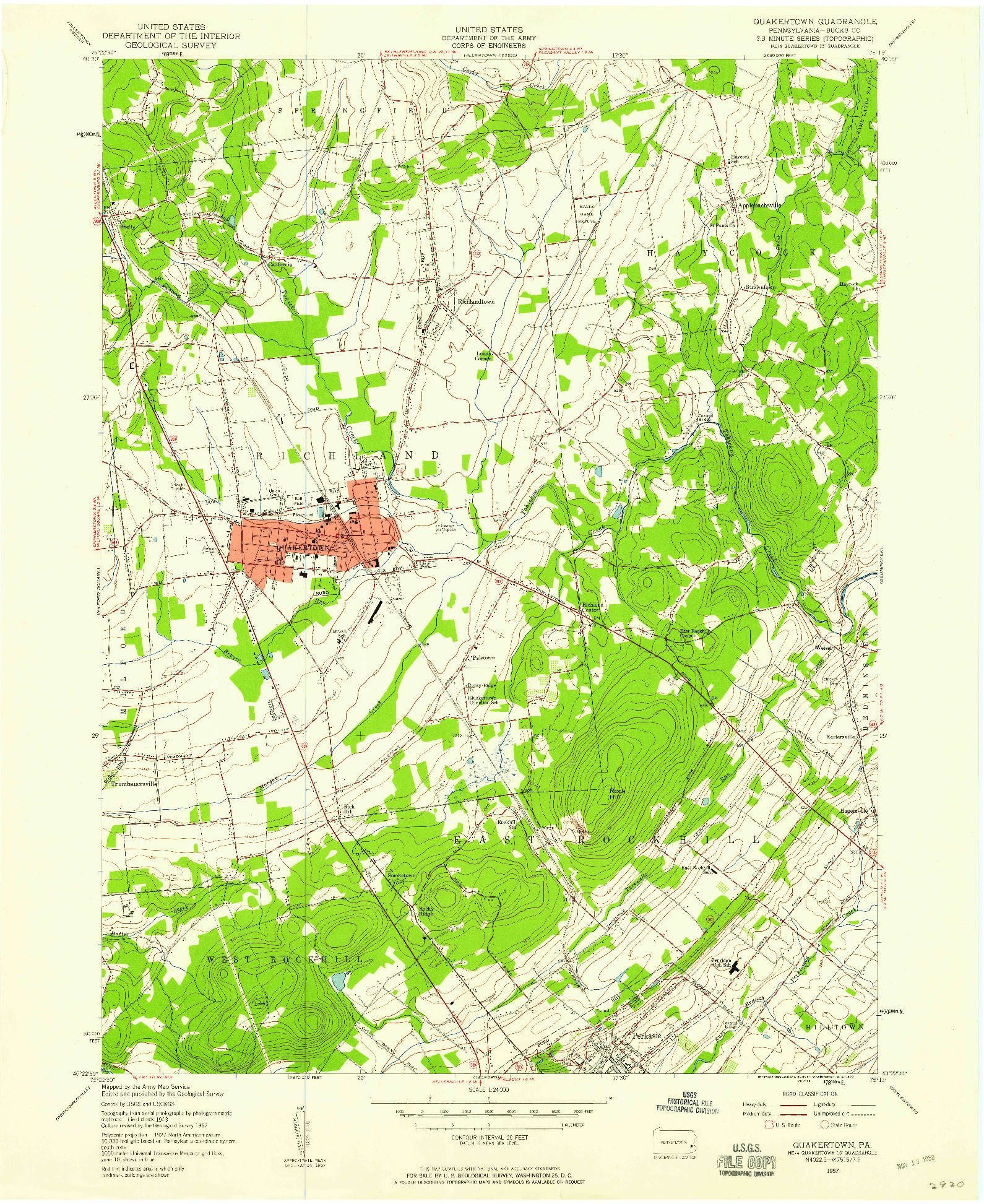 USGS 1:24000-SCALE QUADRANGLE FOR QUAKERTOWN, PA 1957