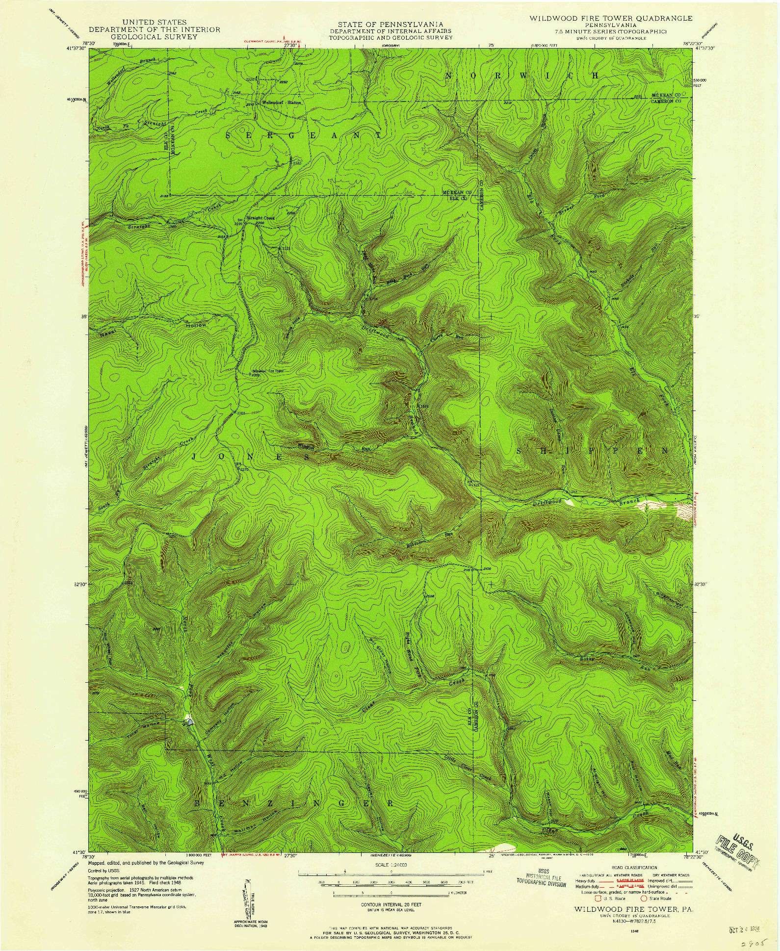 USGS 1:24000-SCALE QUADRANGLE FOR WILDWOOD FIRE TOWER, PA 1948