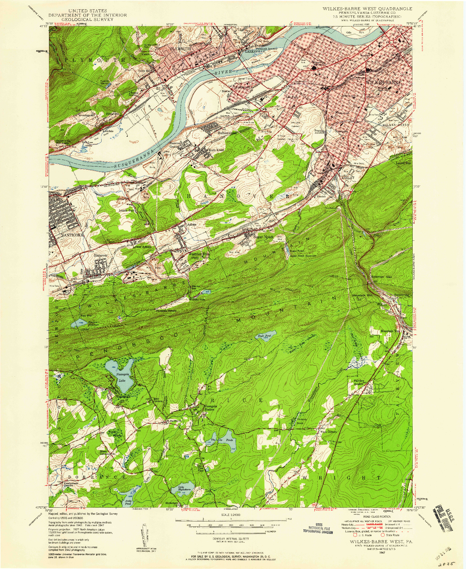 USGS 1:24000-SCALE QUADRANGLE FOR WILKES-BARRE WEST, PA 1947