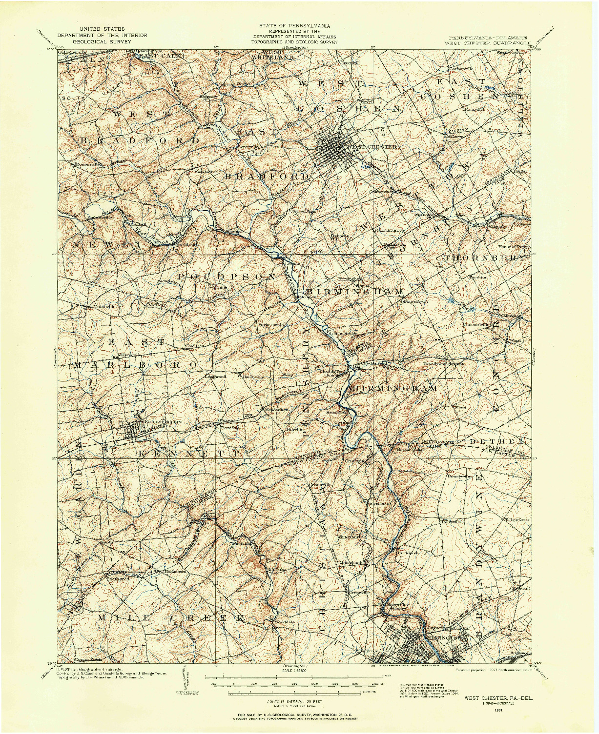 USGS 1:62500-SCALE QUADRANGLE FOR WEST CHESTER, PA 1901