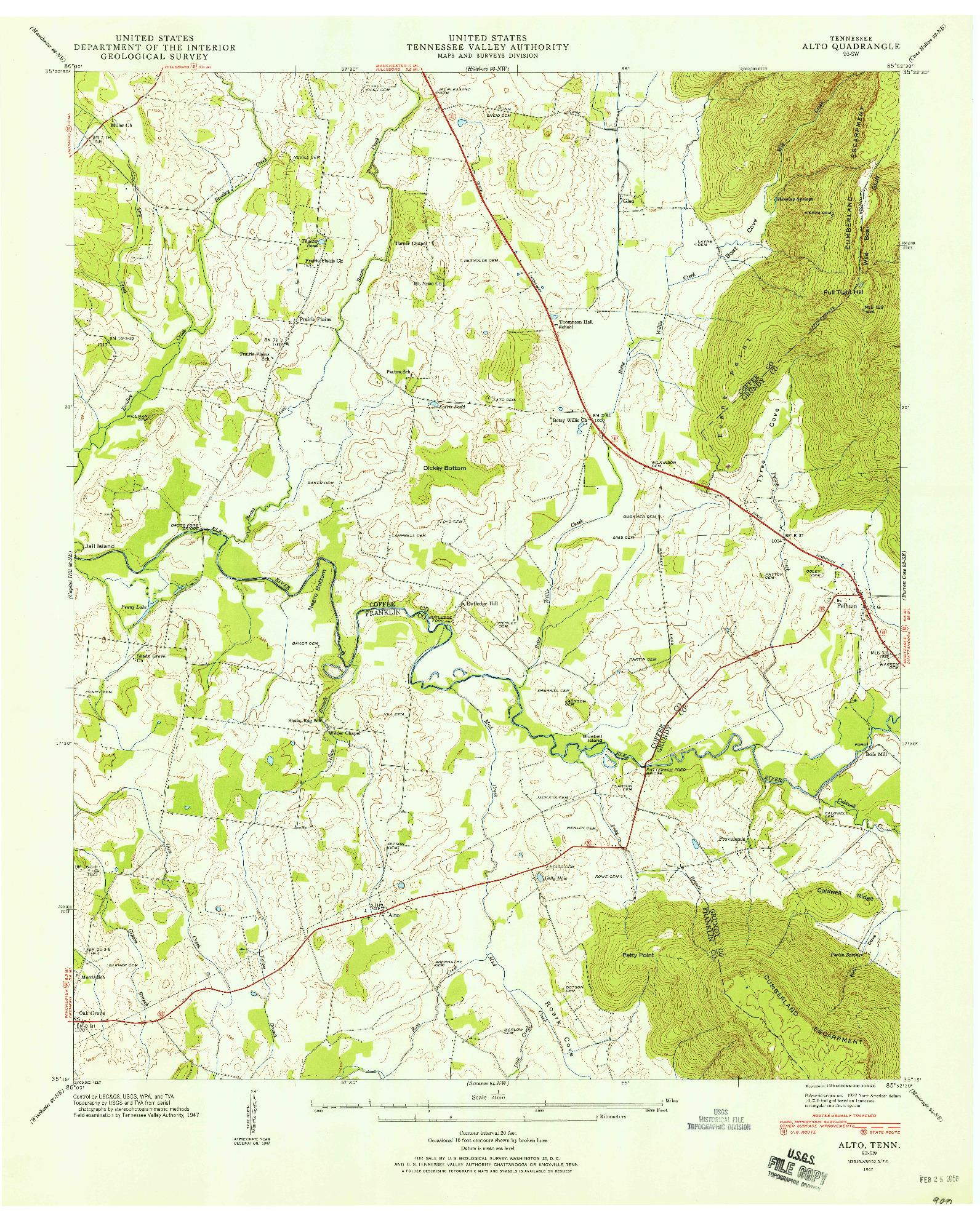 USGS 1:24000-SCALE QUADRANGLE FOR ALTO, TN 1947