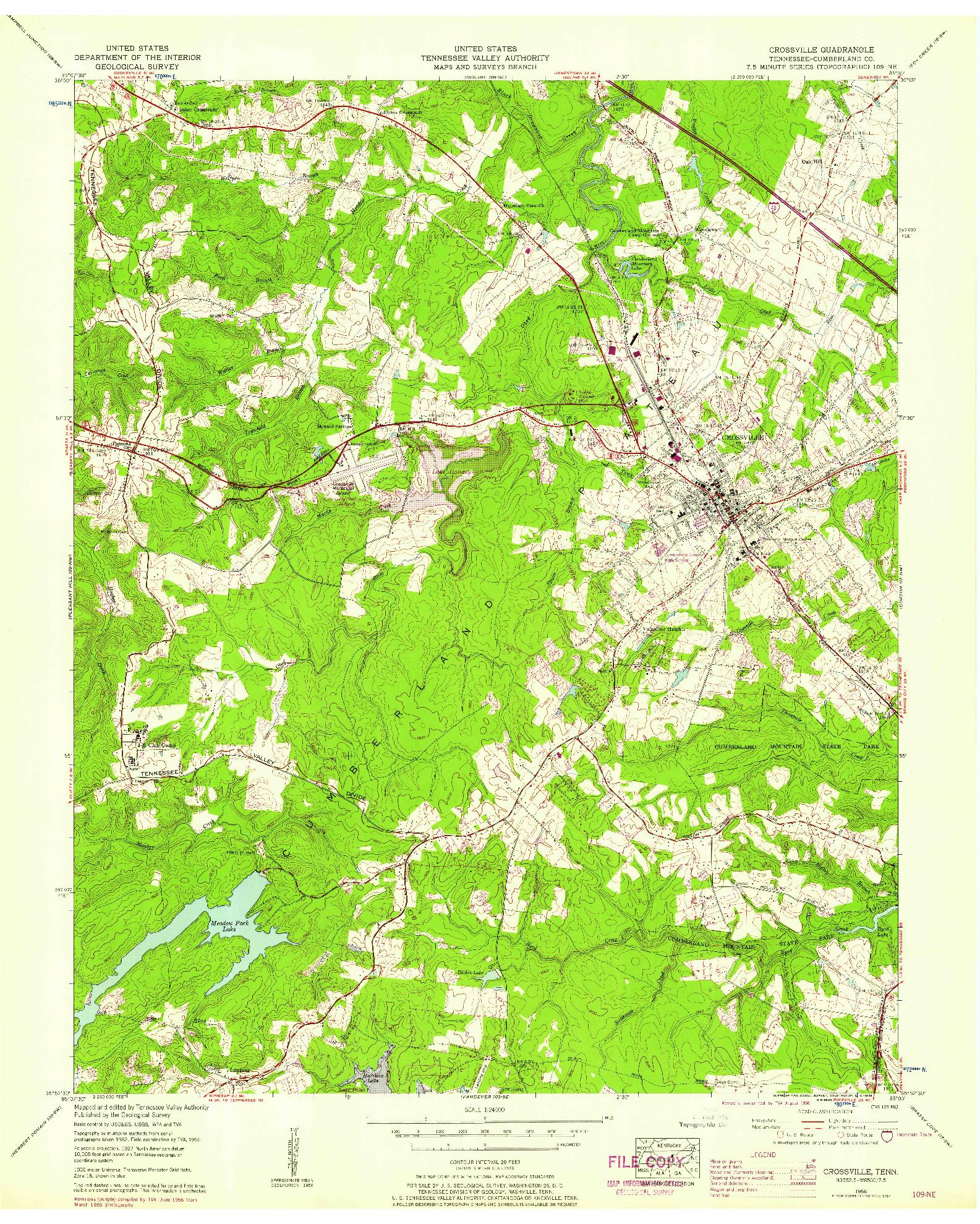 USGS 1:24000-SCALE QUADRANGLE FOR CROSSVILLE, TN 1956