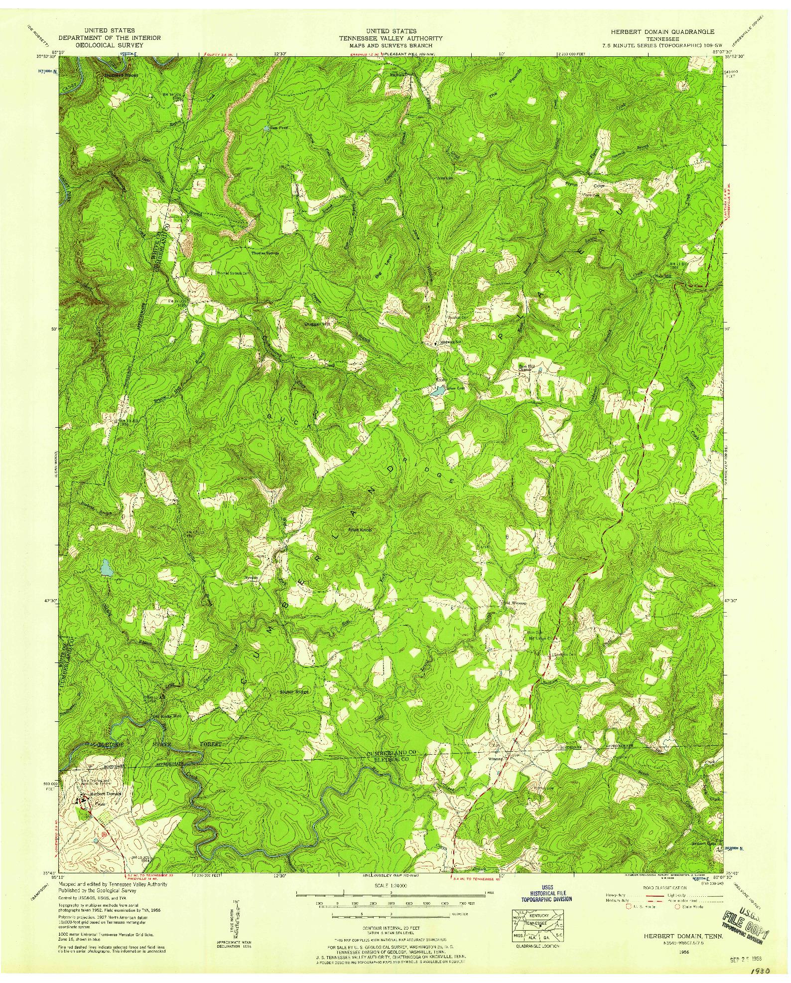 USGS 1:24000-SCALE QUADRANGLE FOR HERBERT DOMAIN, TN 1956