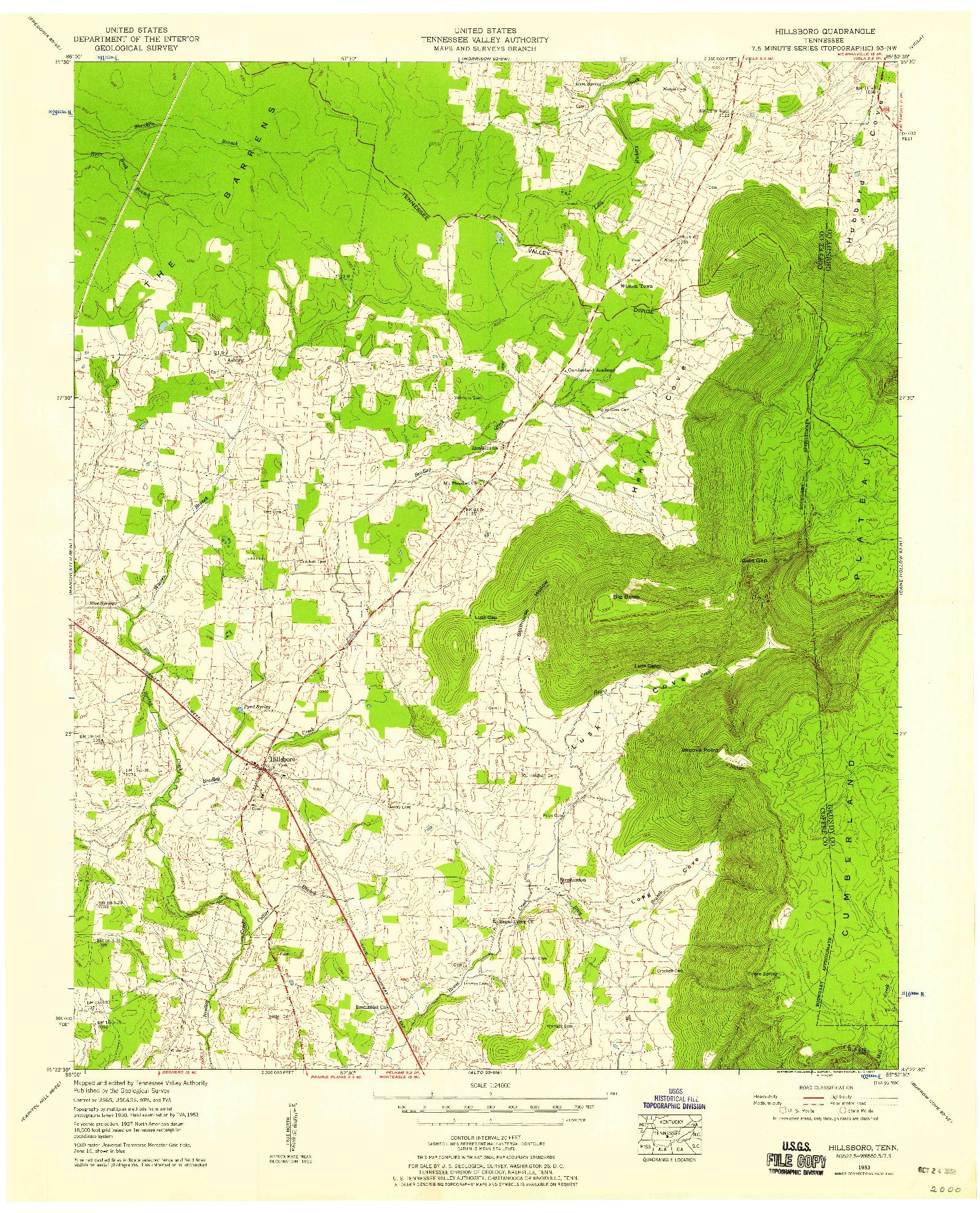 USGS 1:24000-SCALE QUADRANGLE FOR HILLSBORO, TN 1953