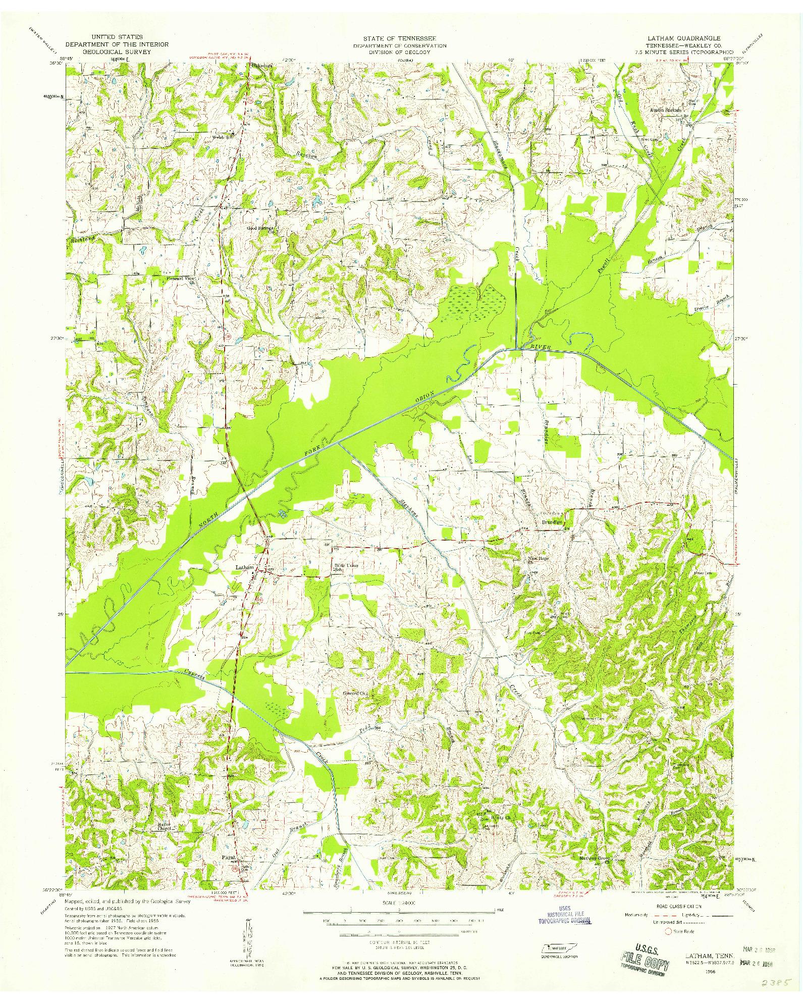 USGS 1:24000-SCALE QUADRANGLE FOR LATHAM, TN 1956