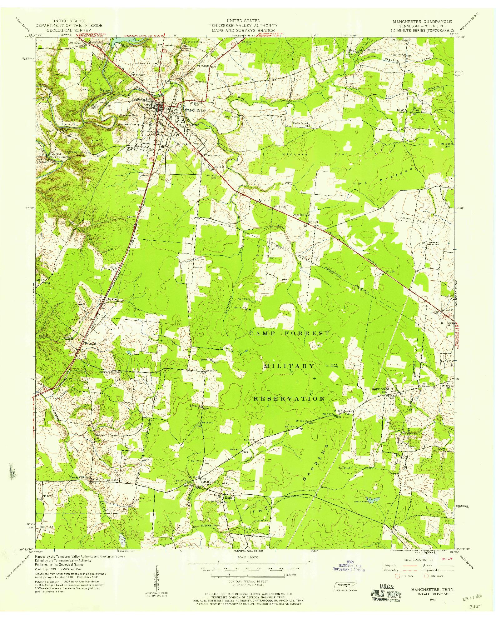 USGS 1:24000-SCALE QUADRANGLE FOR MANCHESTER, TN 1941
