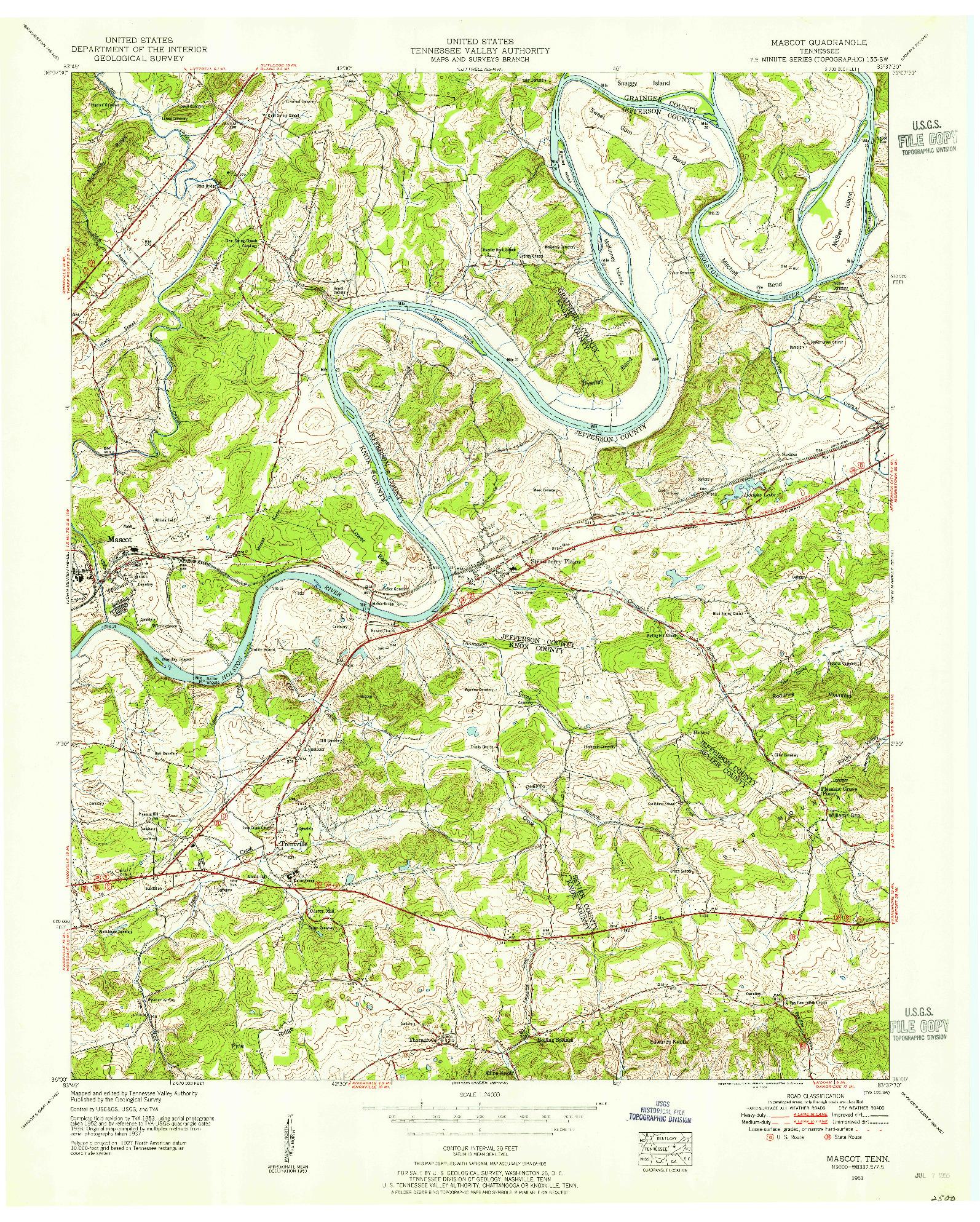 USGS 1:24000-SCALE QUADRANGLE FOR MASCOT, TN 1953