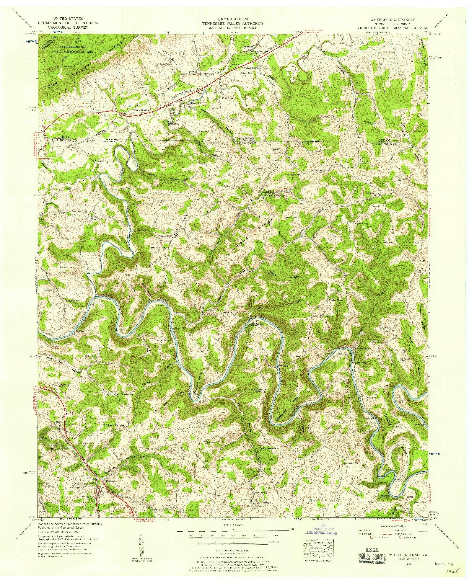 USGS 1:24000-SCALE QUADRANGLE FOR WHEELER, TN 1956