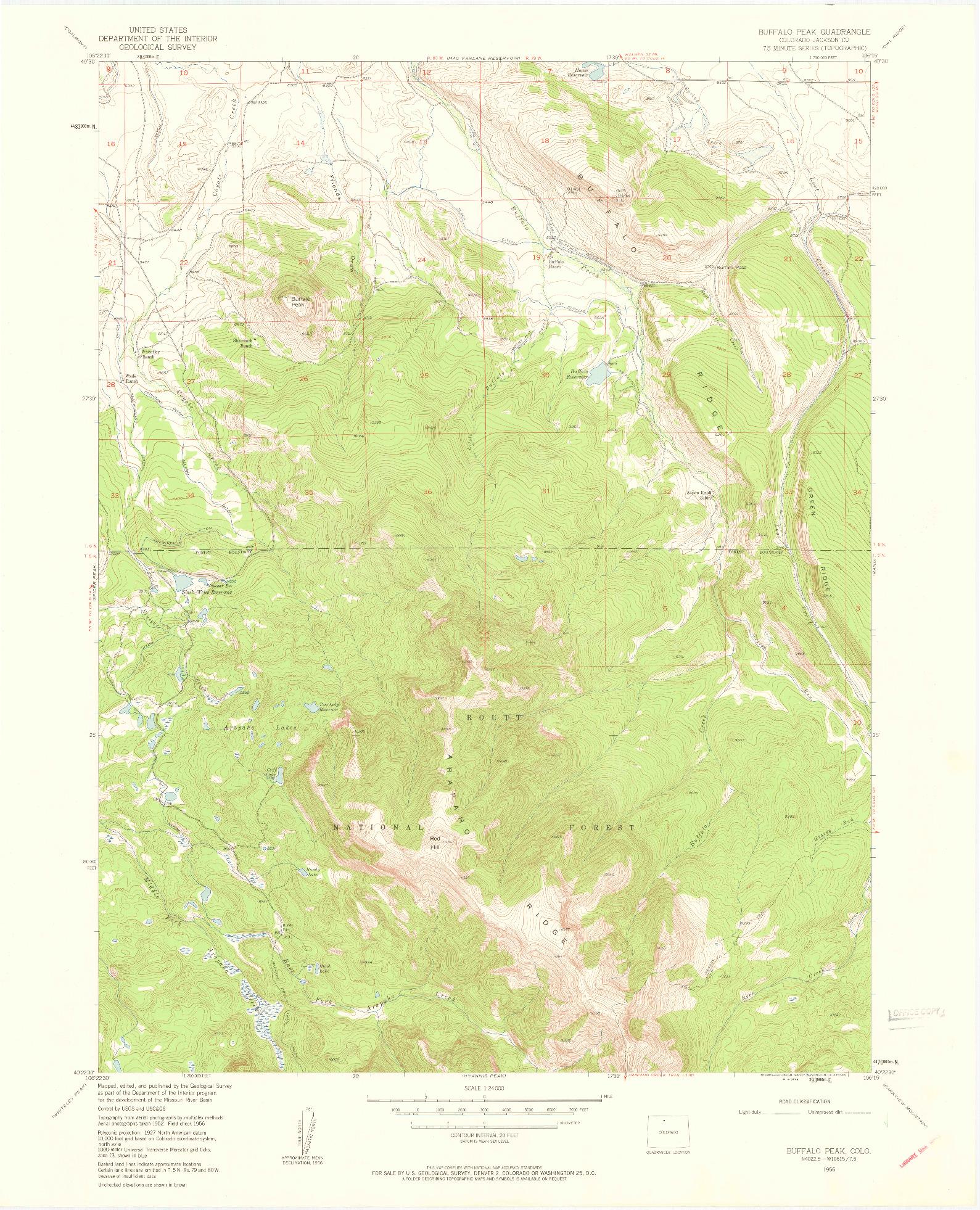 USGS 1:24000-SCALE QUADRANGLE FOR BUFFALO PEAK, CO 1956