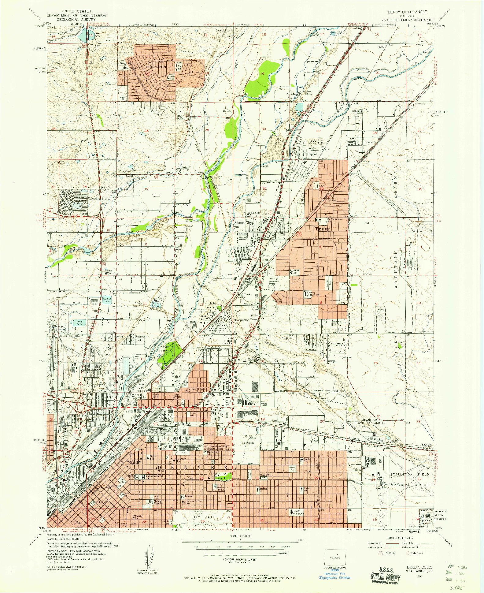 USGS 1:24000-SCALE QUADRANGLE FOR DERBY, CO 1957