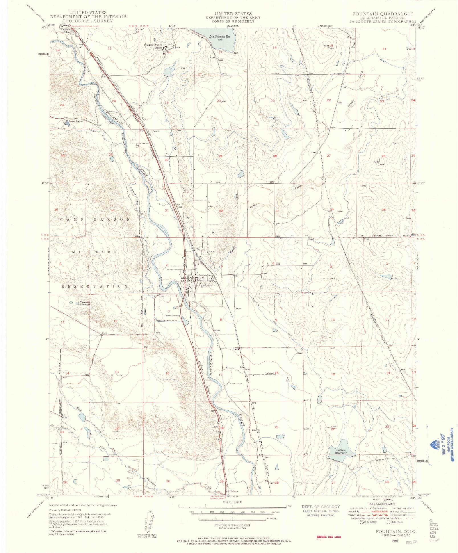 USGS 1:24000-SCALE QUADRANGLE FOR FOUNTAIN, CO 1948