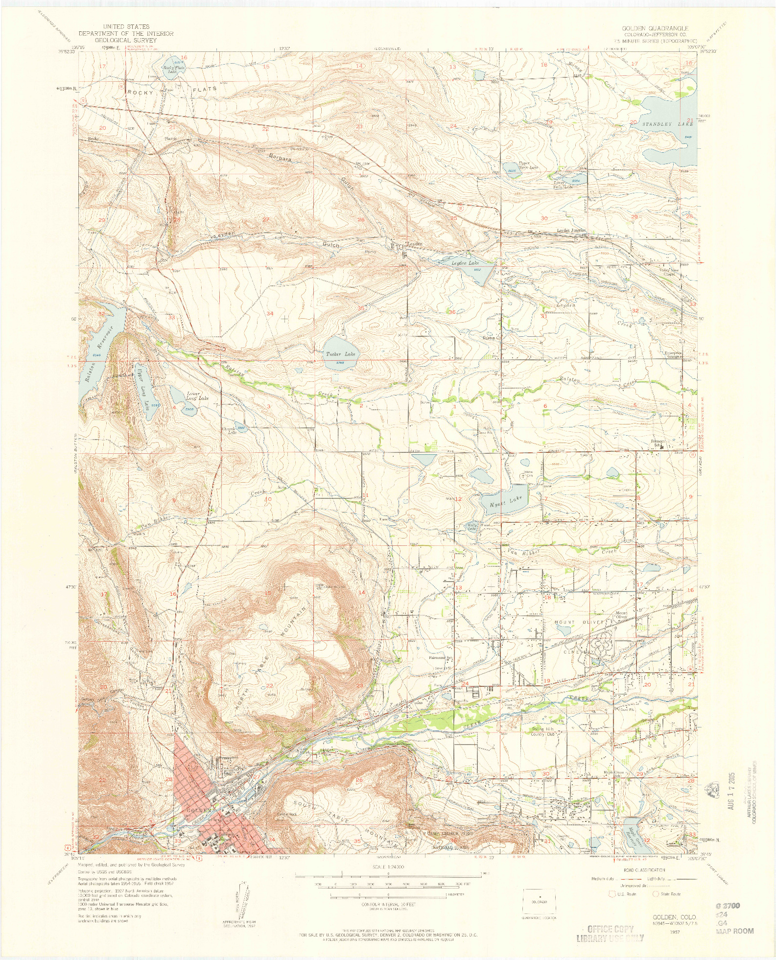 USGS 1:24000-SCALE QUADRANGLE FOR GOLDEN, CO 1957
