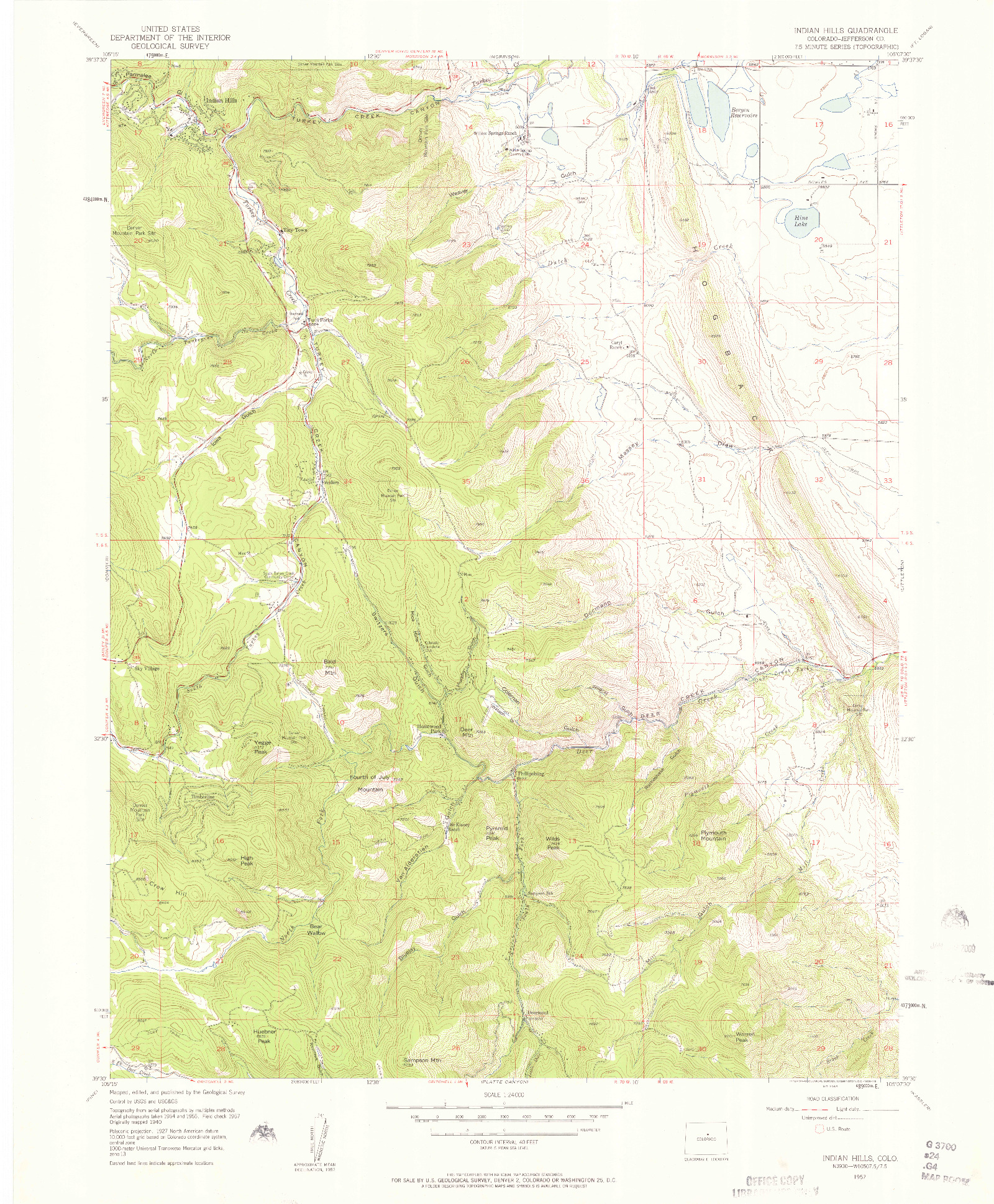 USGS 1:24000-SCALE QUADRANGLE FOR INDIAN HILLS, CO 1957