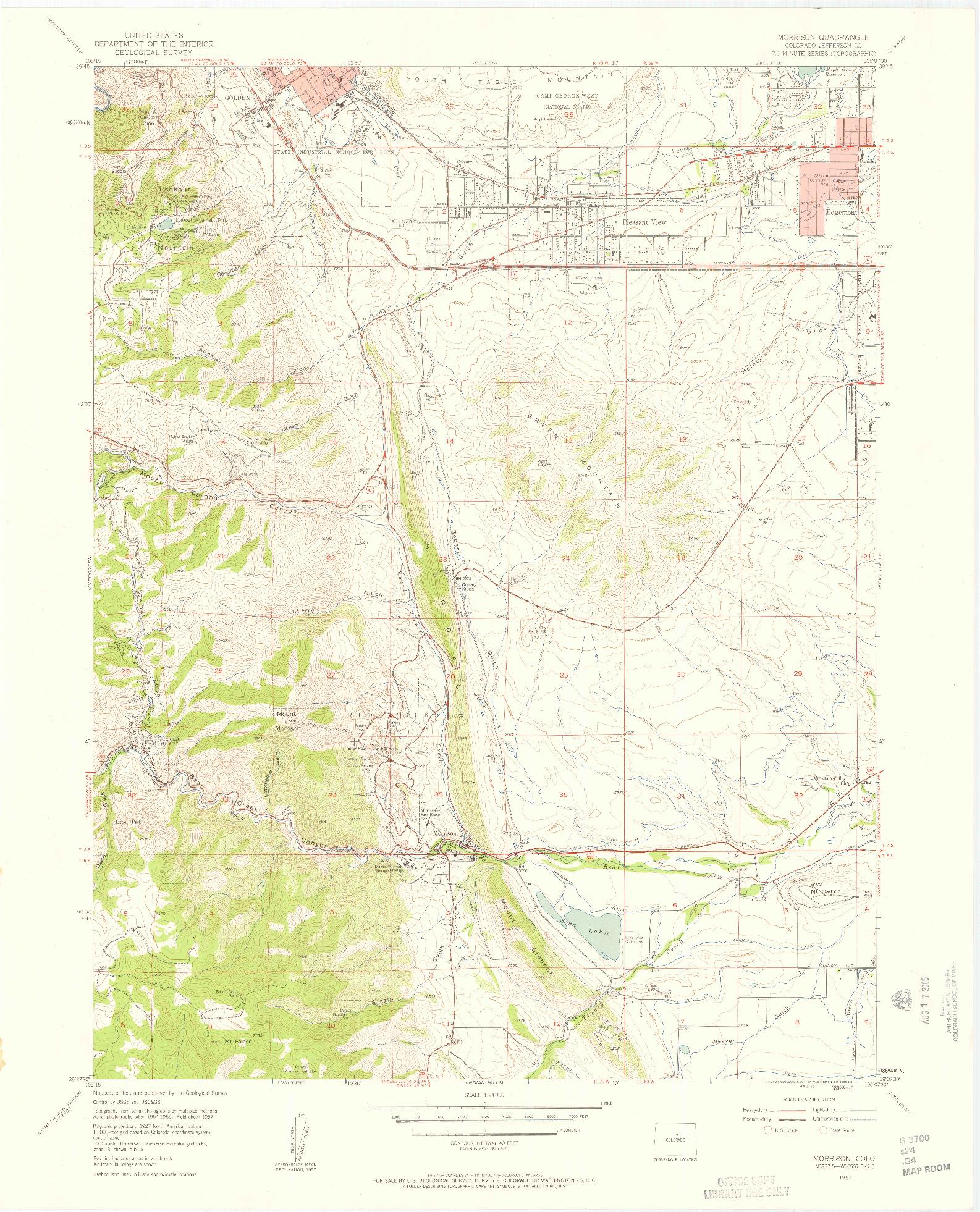 USGS 1:24000-SCALE QUADRANGLE FOR MORRISON, CO 1957