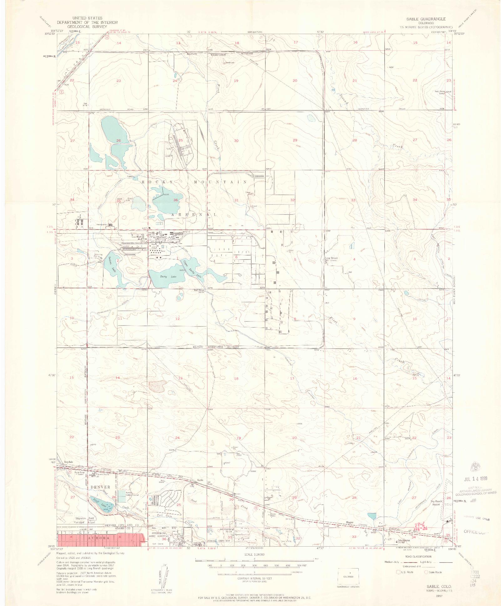 USGS 1:24000-SCALE QUADRANGLE FOR SABLE, CO 1957