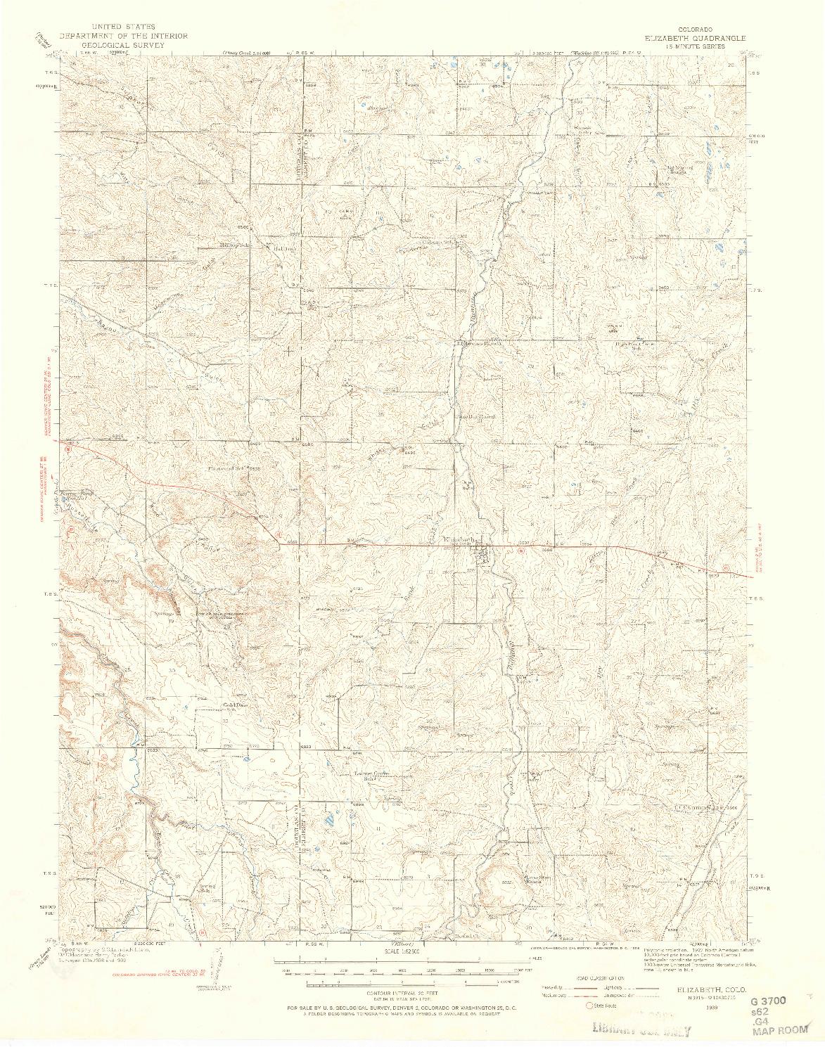 USGS 1:62500-SCALE QUADRANGLE FOR ELIZABETH, CO 1939