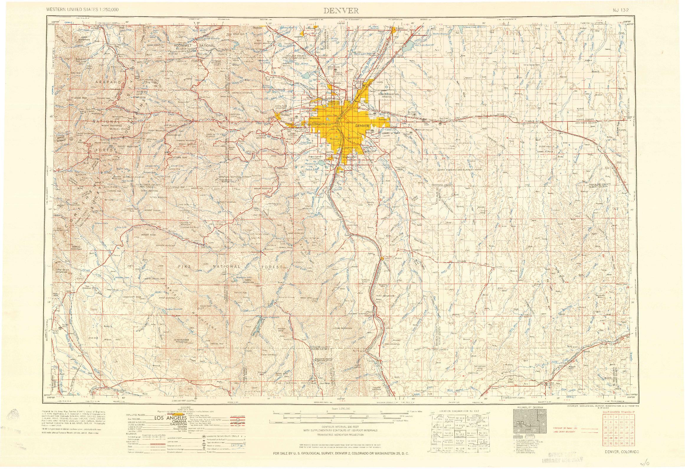 USGS 1:250000-SCALE QUADRANGLE FOR DENVER, CO 1958
