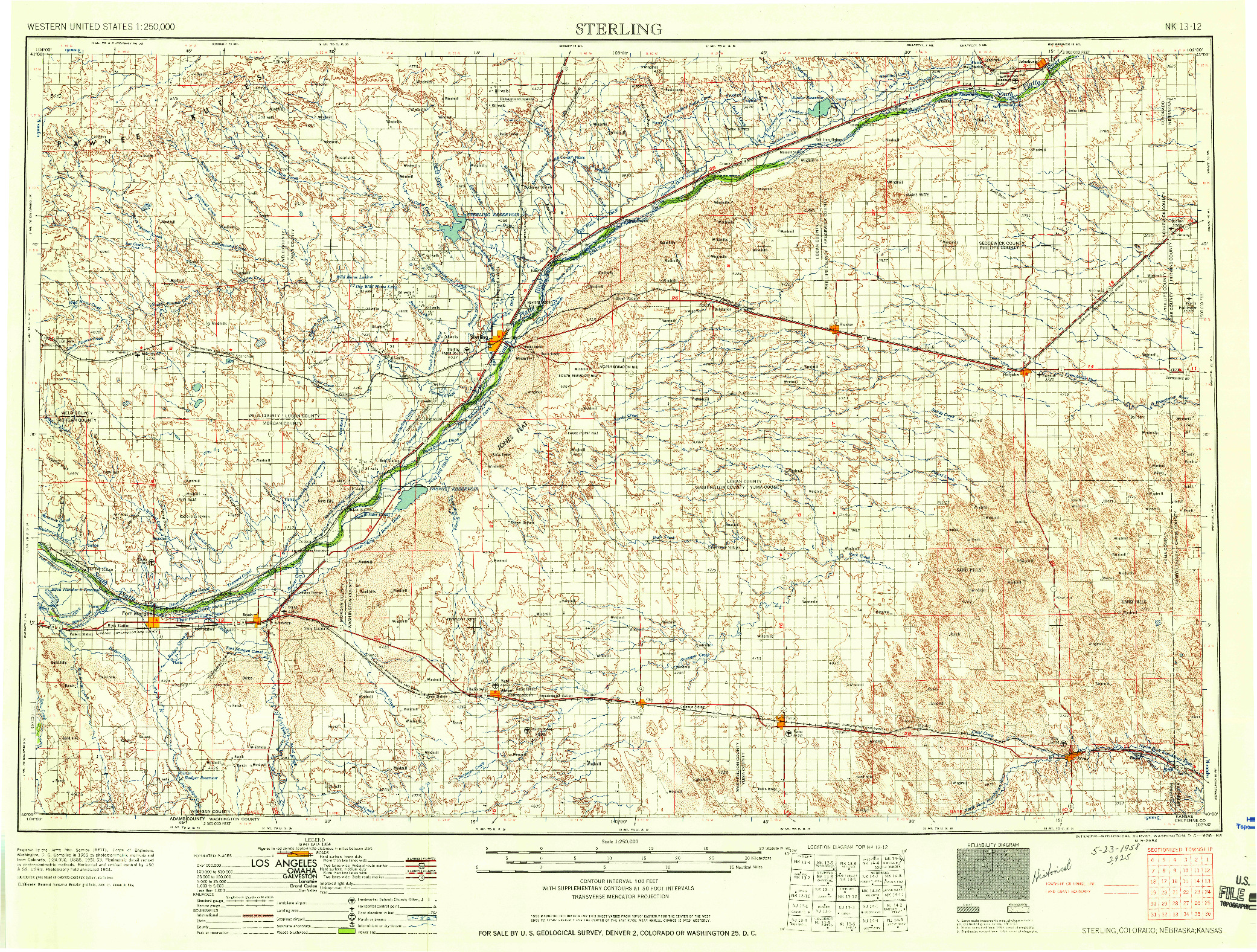 USGS 1:250000-SCALE QUADRANGLE FOR STERLING, CO 1958