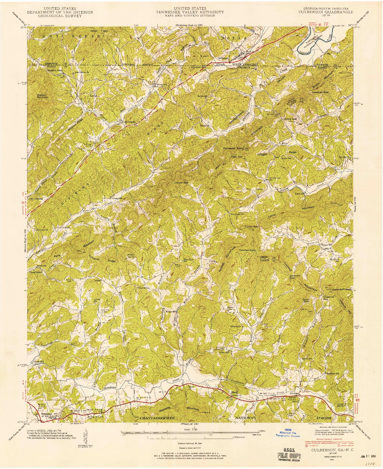 USGS 1:24000-SCALE QUADRANGLE FOR CULBERSON, GA 1941