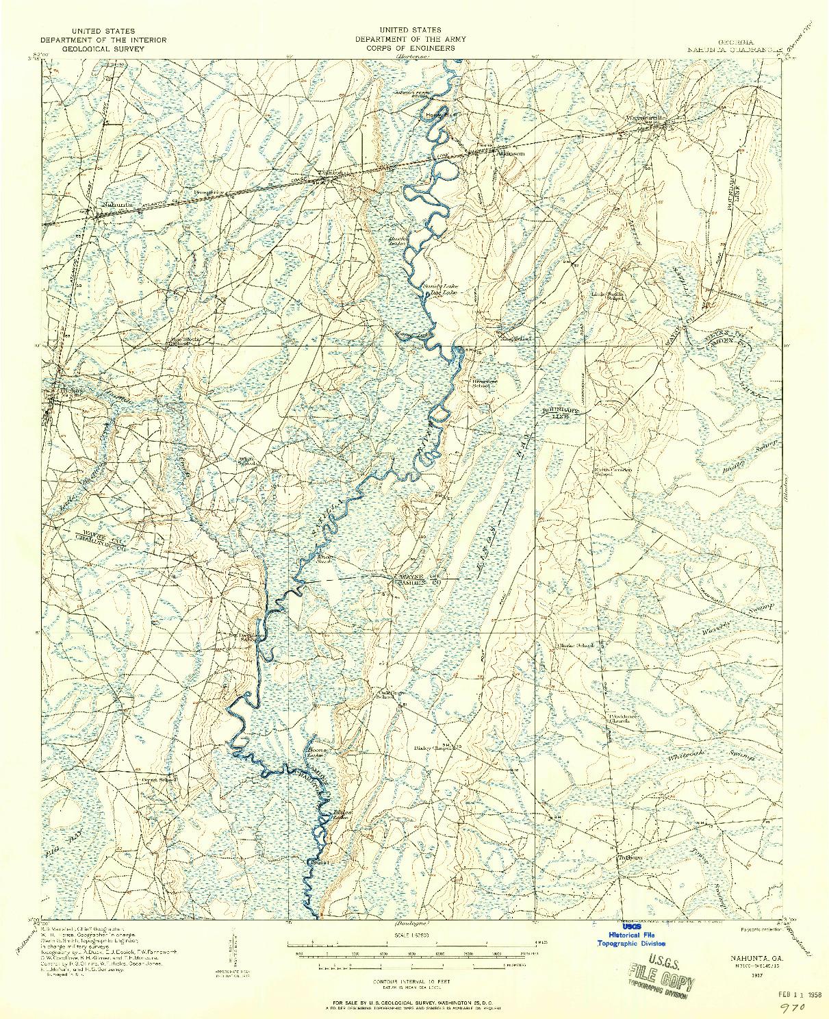 USGS 1:62500-SCALE QUADRANGLE FOR NAHUNTA, GA 1917