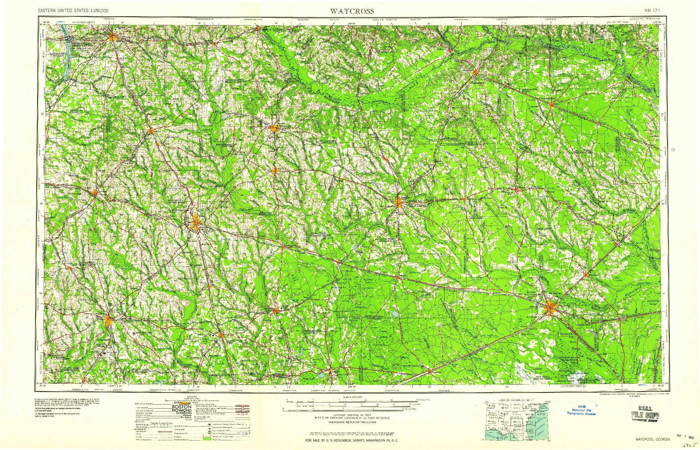 USGS 1:250000-SCALE QUADRANGLE FOR WAYCROSS, GA 1958