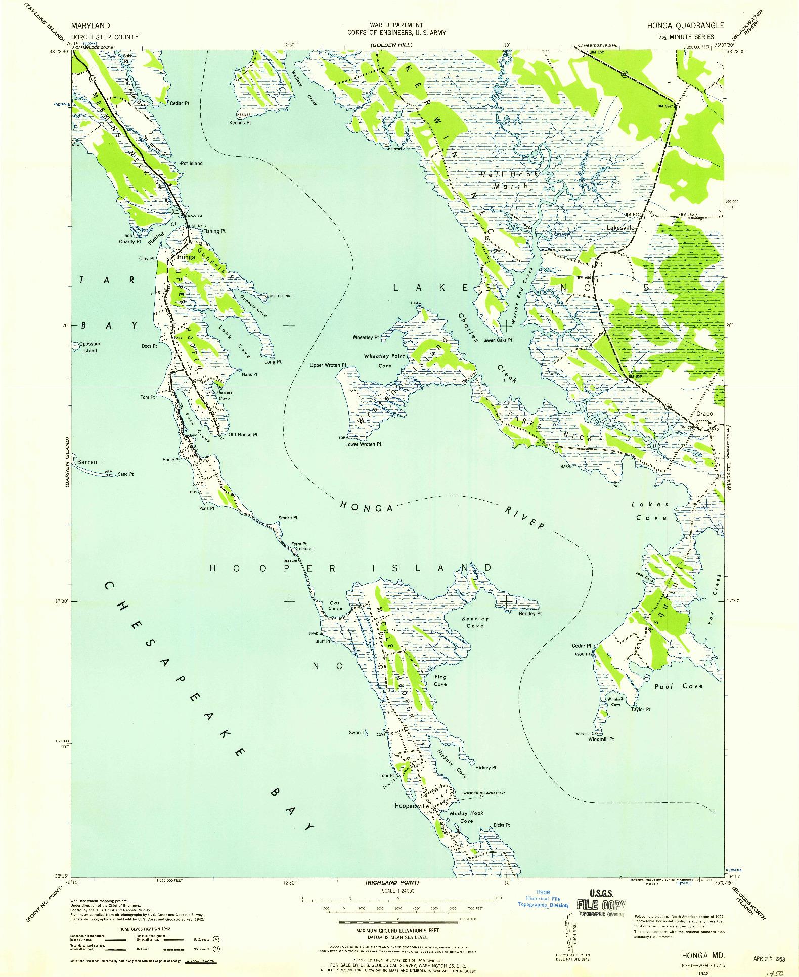 USGS 1:24000-SCALE QUADRANGLE FOR HONGA, MD 1942