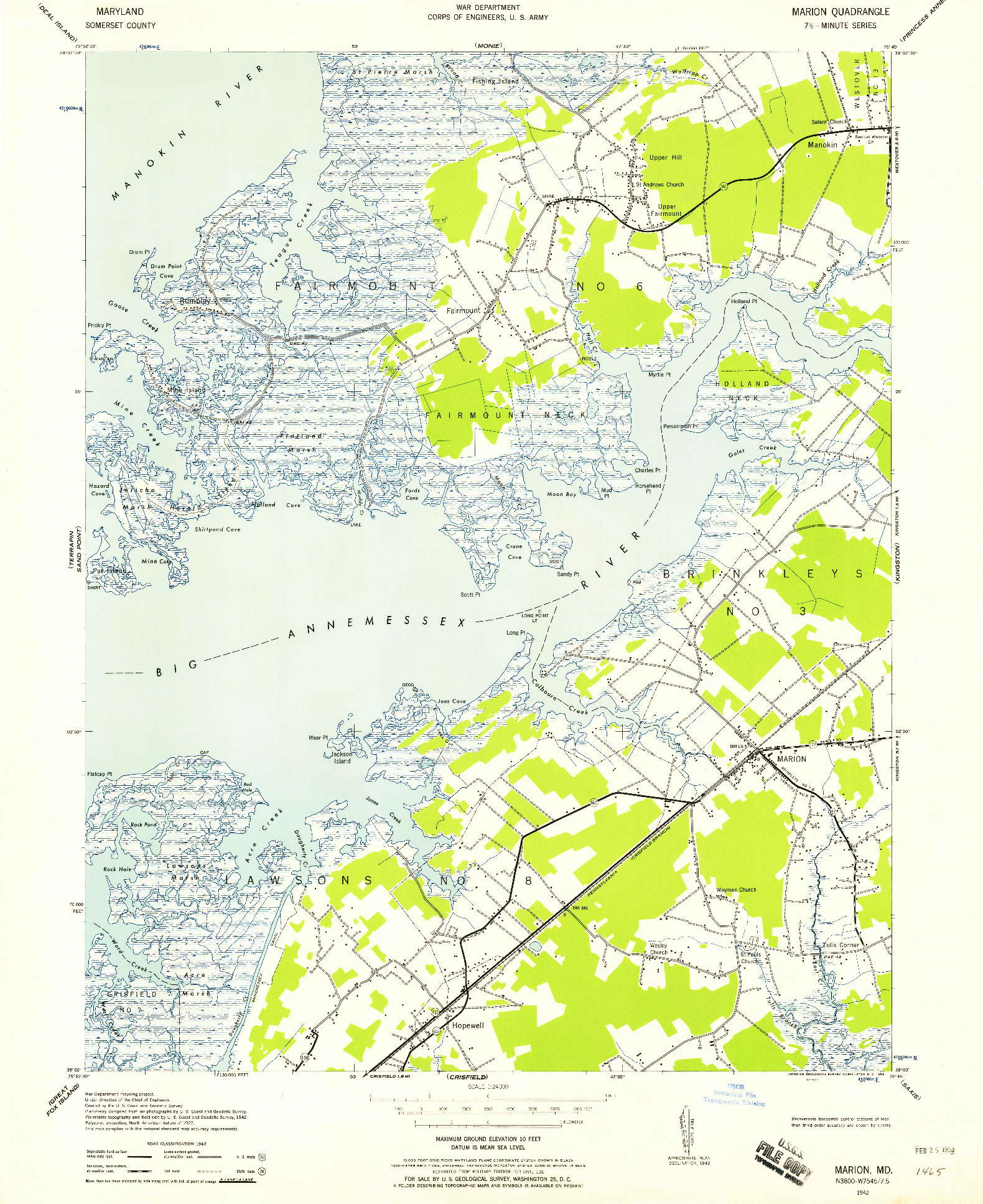 USGS 1:24000-SCALE QUADRANGLE FOR MARION, MD 1942