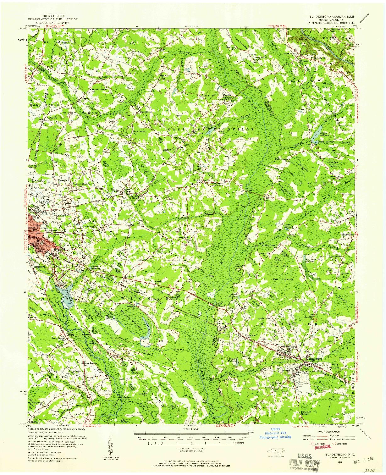 USGS 1:62500-SCALE QUADRANGLE FOR BLADENBORO, NC 1957