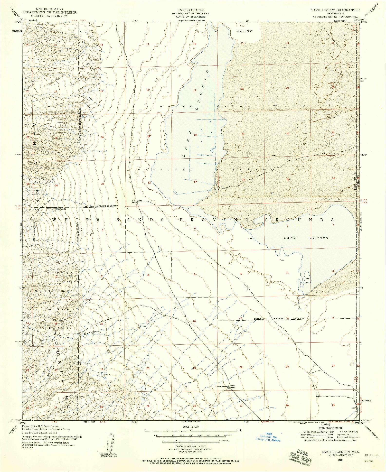USGS 1:24000-SCALE QUADRANGLE FOR LAKE LUCERO, NM 1948