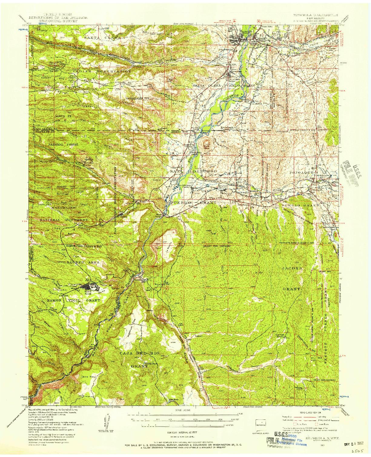 USGS 1:62500-SCALE QUADRANGLE FOR ESPANOLA, NM 1953
