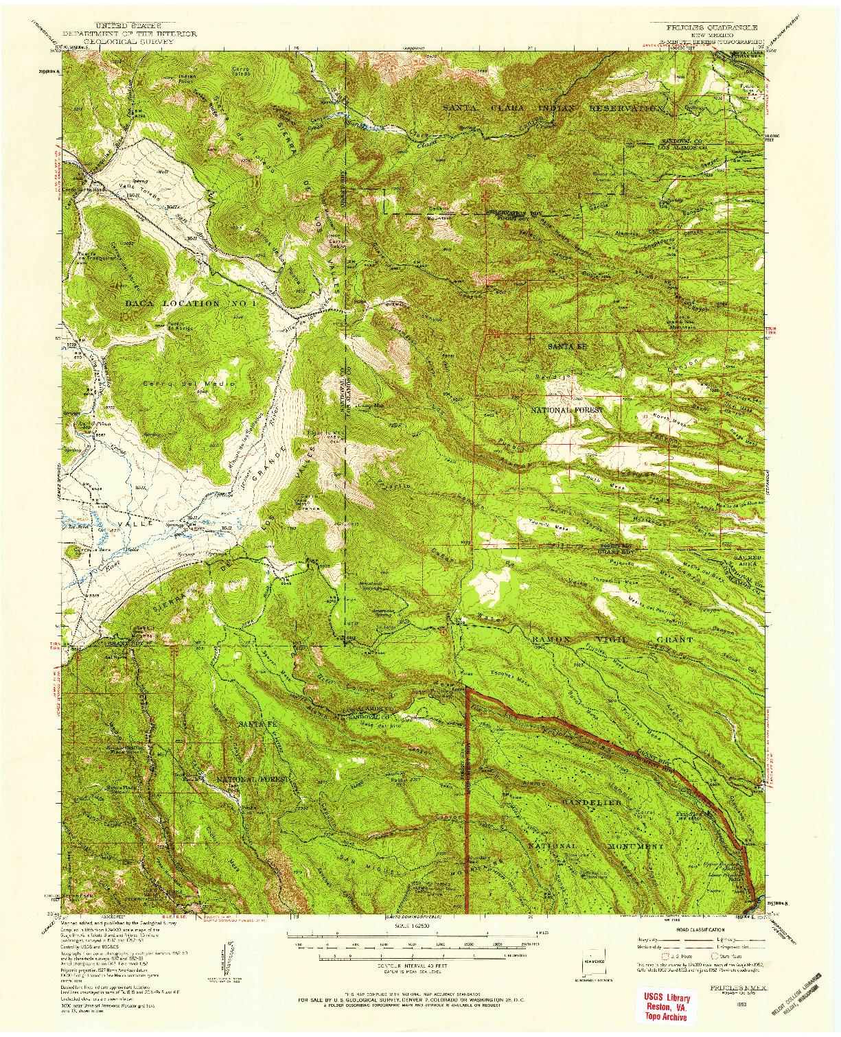 USGS 1:62500-SCALE QUADRANGLE FOR FRIJOLES, NM 1953