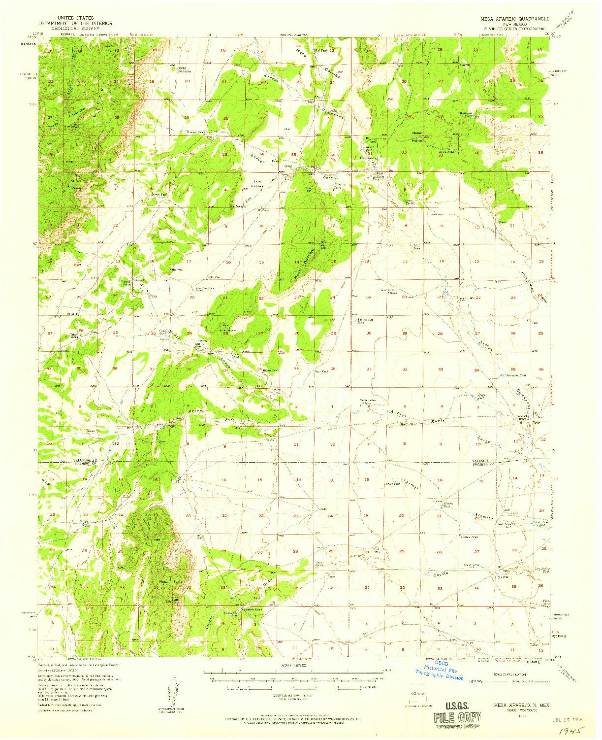 USGS 1:62500-SCALE QUADRANGLE FOR MESA APAREJO, NM 1956