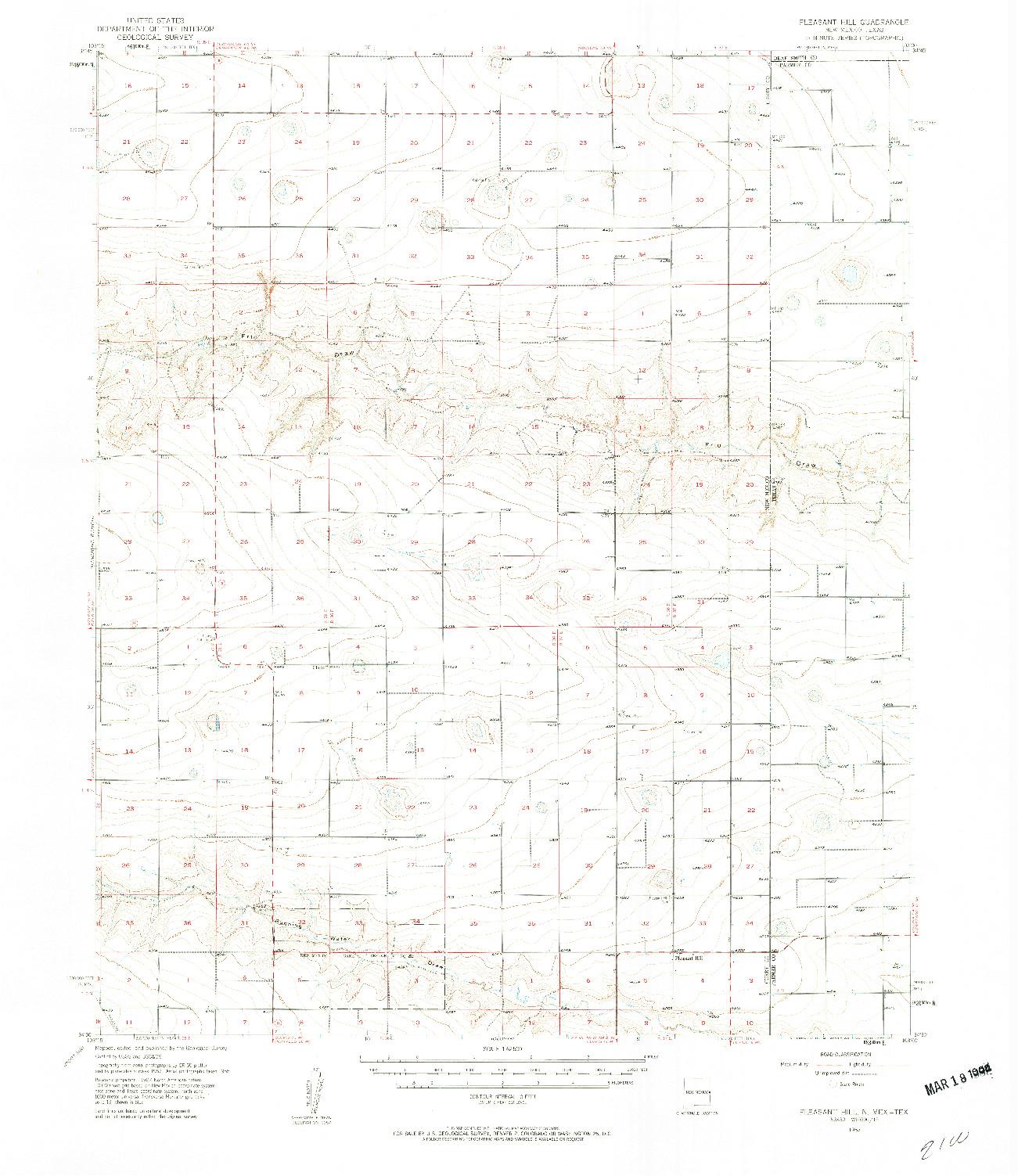 USGS 1:62500-SCALE QUADRANGLE FOR PLEASANT HILL, NM 1957