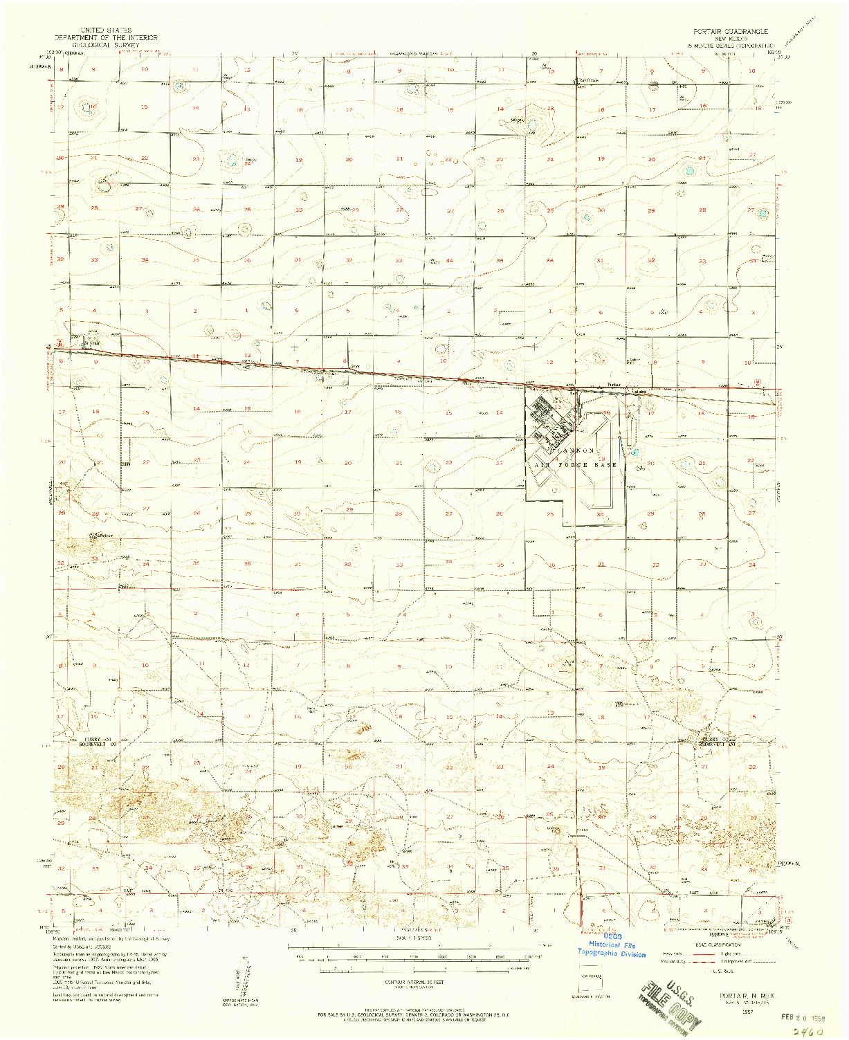 USGS 1:62500-SCALE QUADRANGLE FOR PORTAIR, NM 1957
