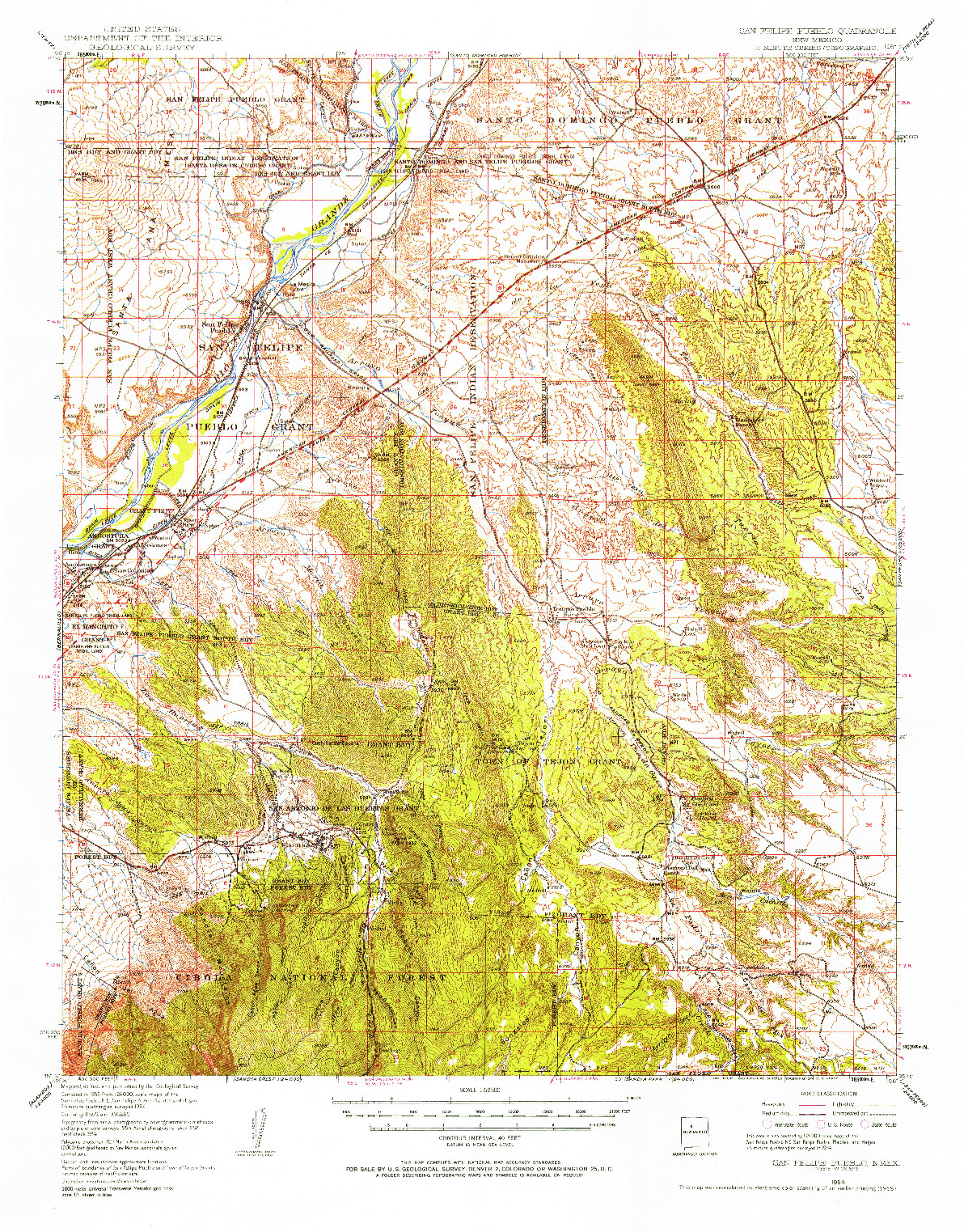 USGS 1:62500-SCALE QUADRANGLE FOR SAN FELIPE PUEBLO, NM 1954