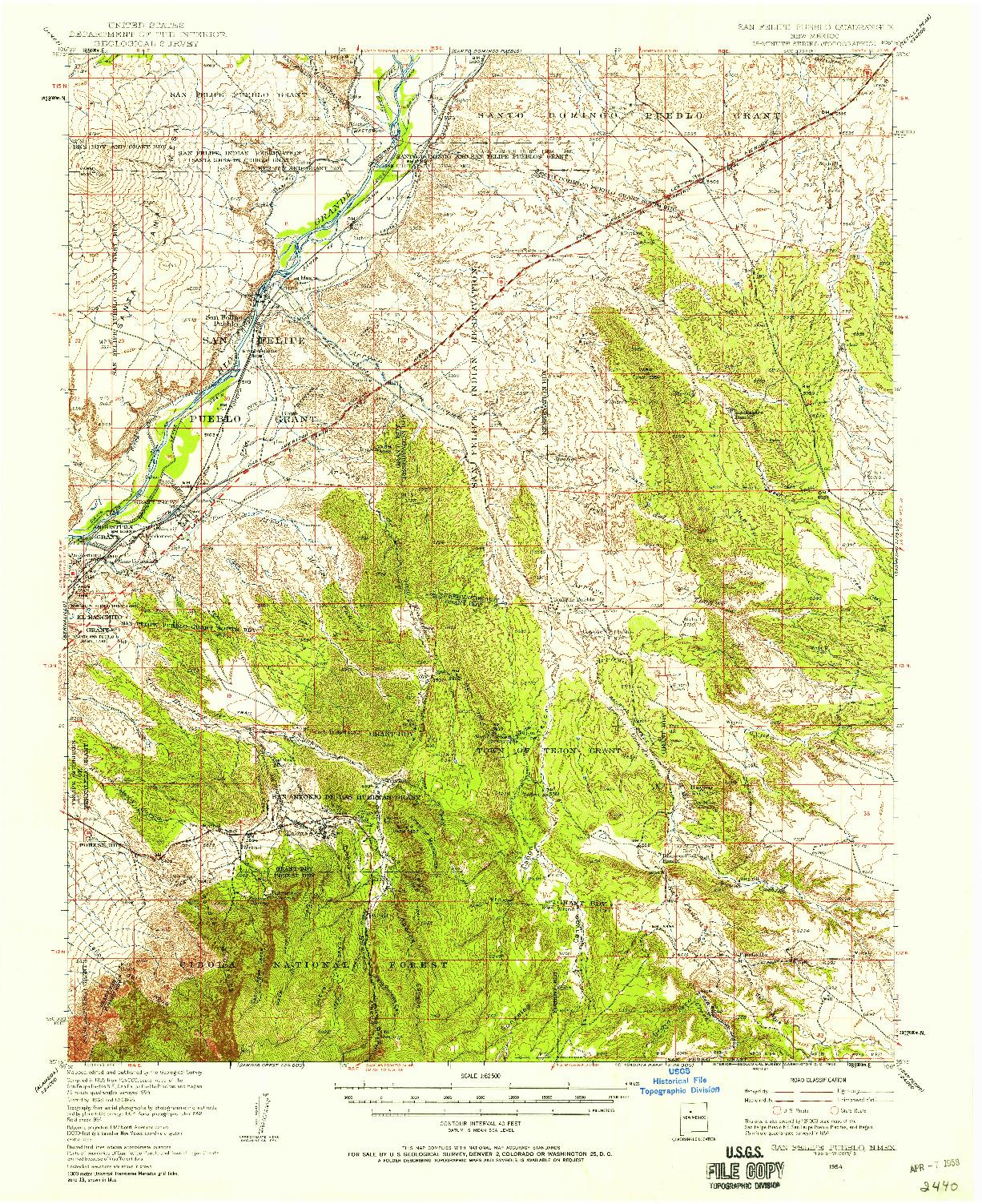 USGS 1:62500-SCALE QUADRANGLE FOR SAN FELIPE PUEBLO, NM 1954