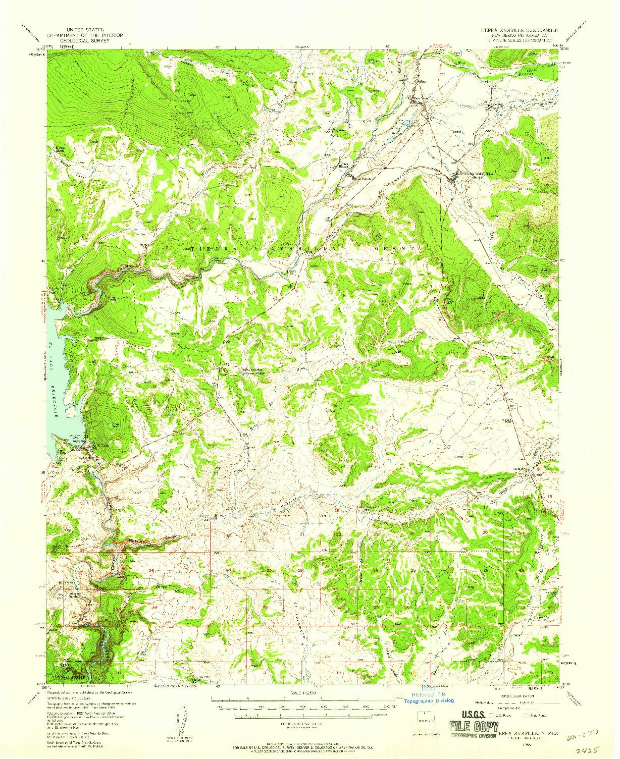 USGS 1:62500-SCALE QUADRANGLE FOR TIERRA AMARILLA, NM 1955