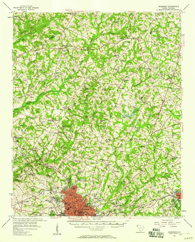 USGS 1:62500-SCALE QUADRANGLE FOR ANDERSON, SC 1957