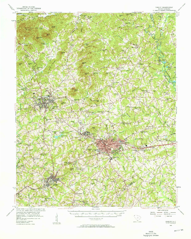 USGS 1:62500-SCALE QUADRANGLE FOR EASLEY, SC 1957