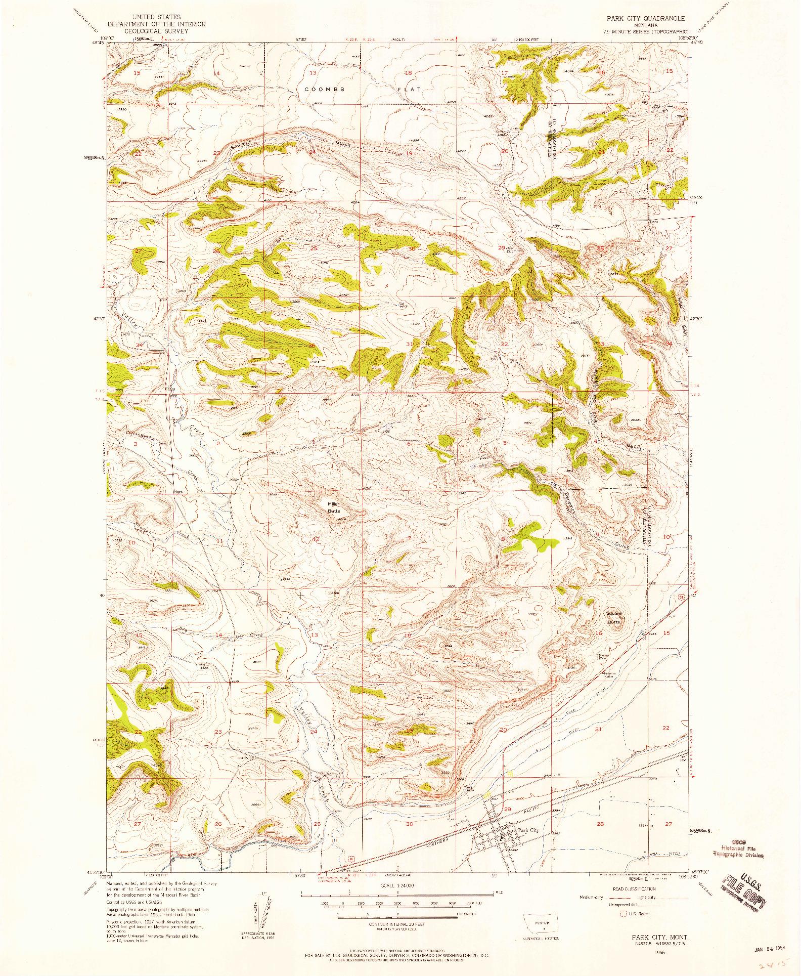 USGS 1:24000-SCALE QUADRANGLE FOR PARK CITY, MT 1956